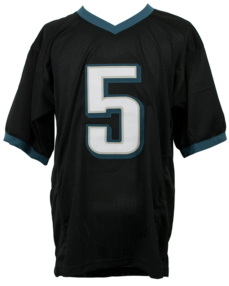 23f0fa2b1df Description. Featured is a signed Donovan McNabb custom black football  jersey.
