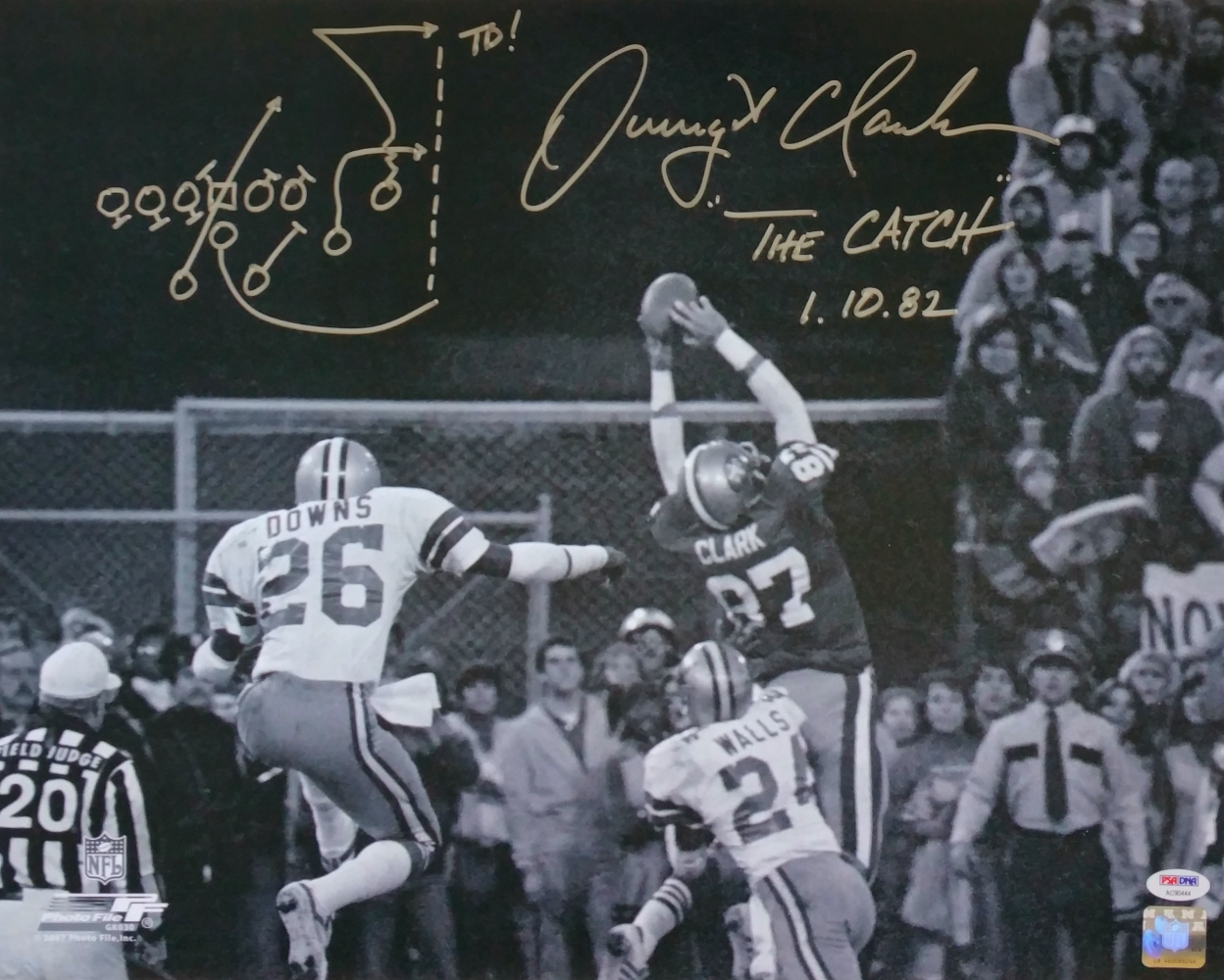 6e6bddc7f Dwight Clark Signed San Francisco 49ers 16x20 The Catch Photo w  Play Drawn  PSA
