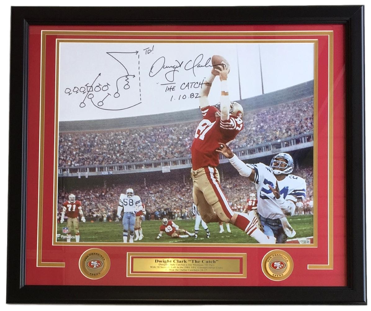 Dwight Clark Signed Framed SF 49ers 16x20 The Catch Photo w/ Play Drawn  Fanatics