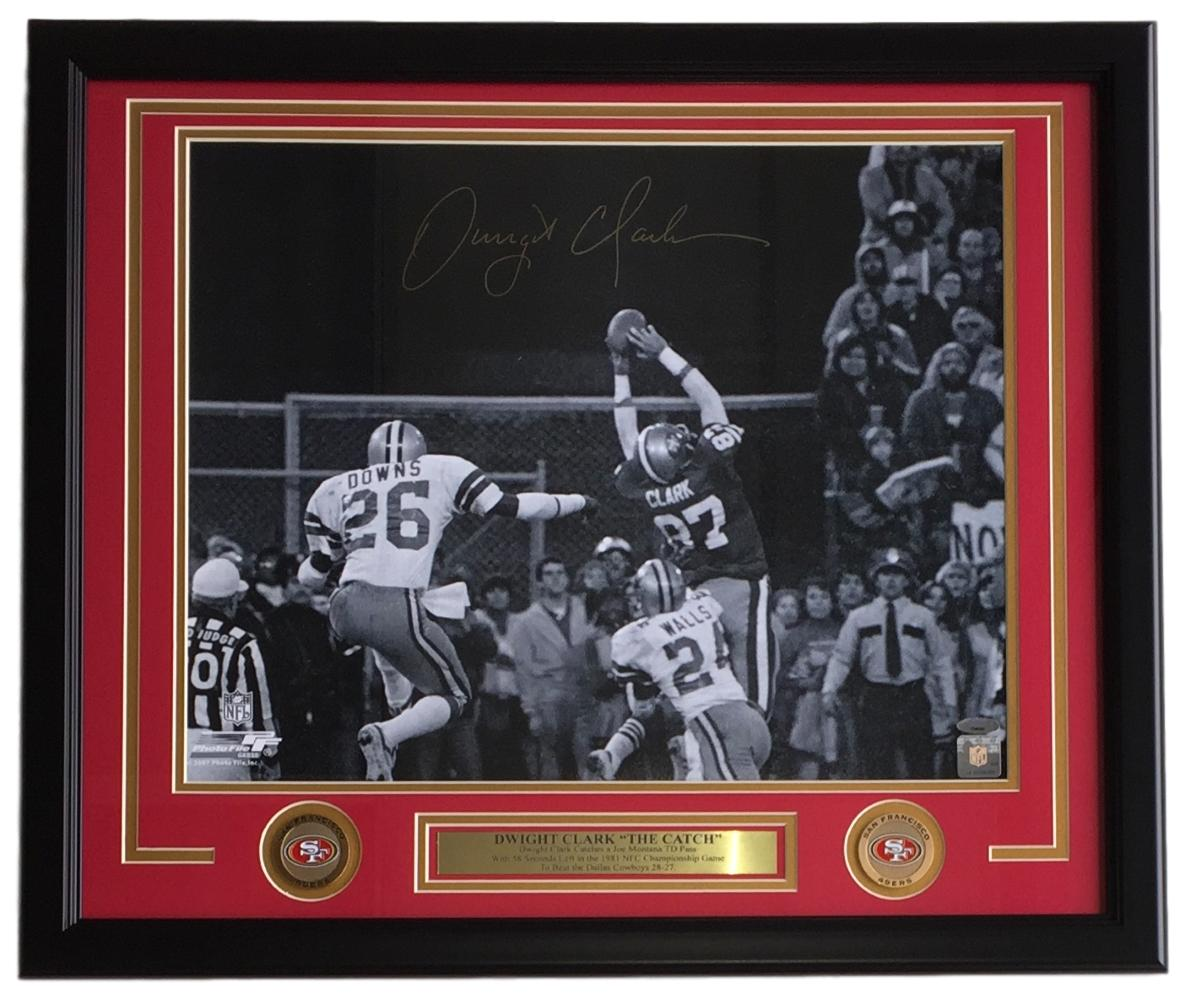 Dwight Clark Signed Framed 16x20 San Francisco 49ers The Catch Photo TriStar
