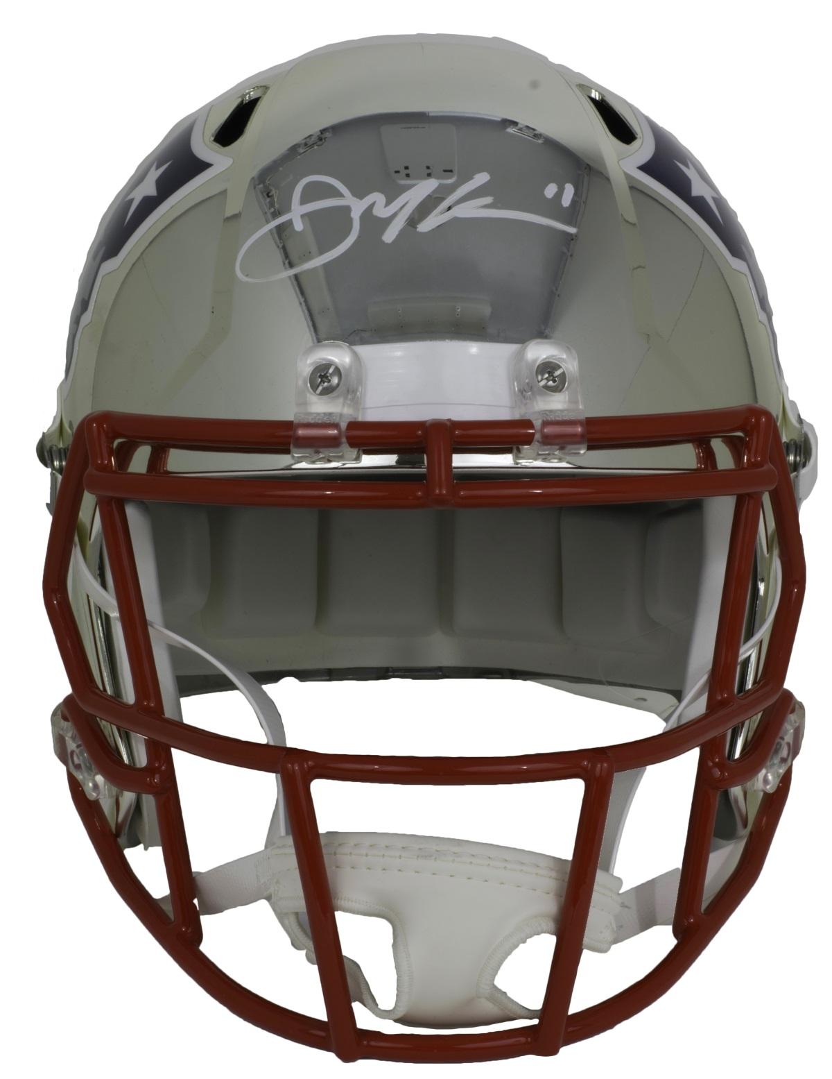 Julian Edelman Signed Patriots Full Size Riddell Chrome Replica Helmet JSA 7eacf8a74