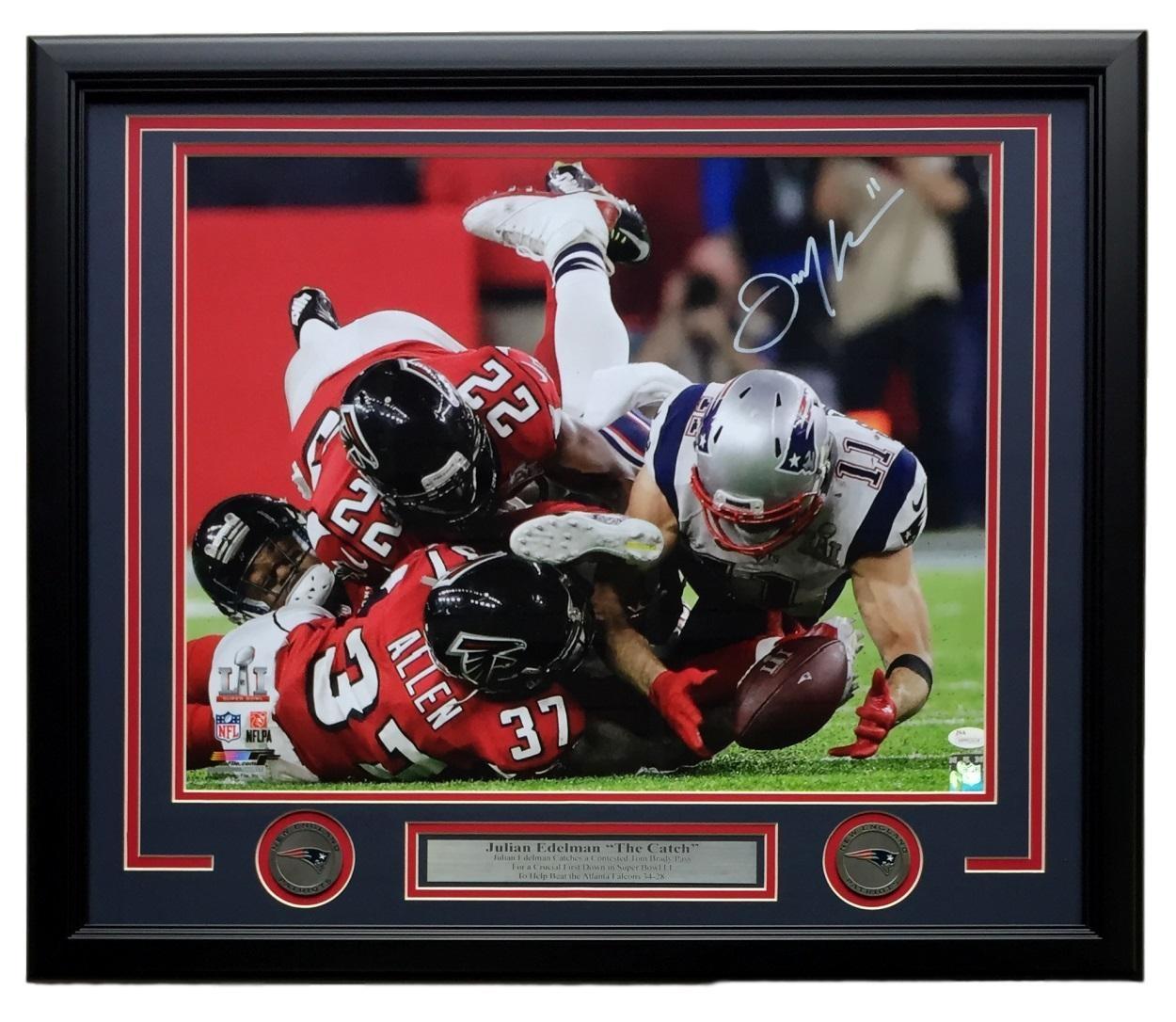 Julian Edelman Signed Framed 16x20 New England Patriots Super Bowl LI Catch  JSA 01911eab5