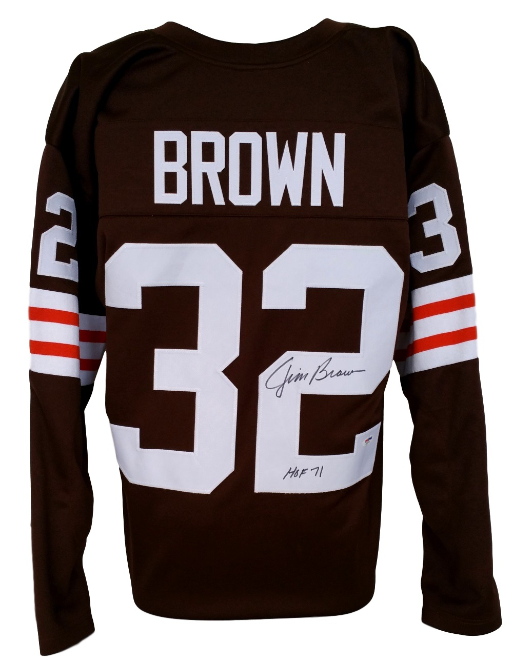 Jim Brown Signed Custom Brown Throwback Football Jersey ...