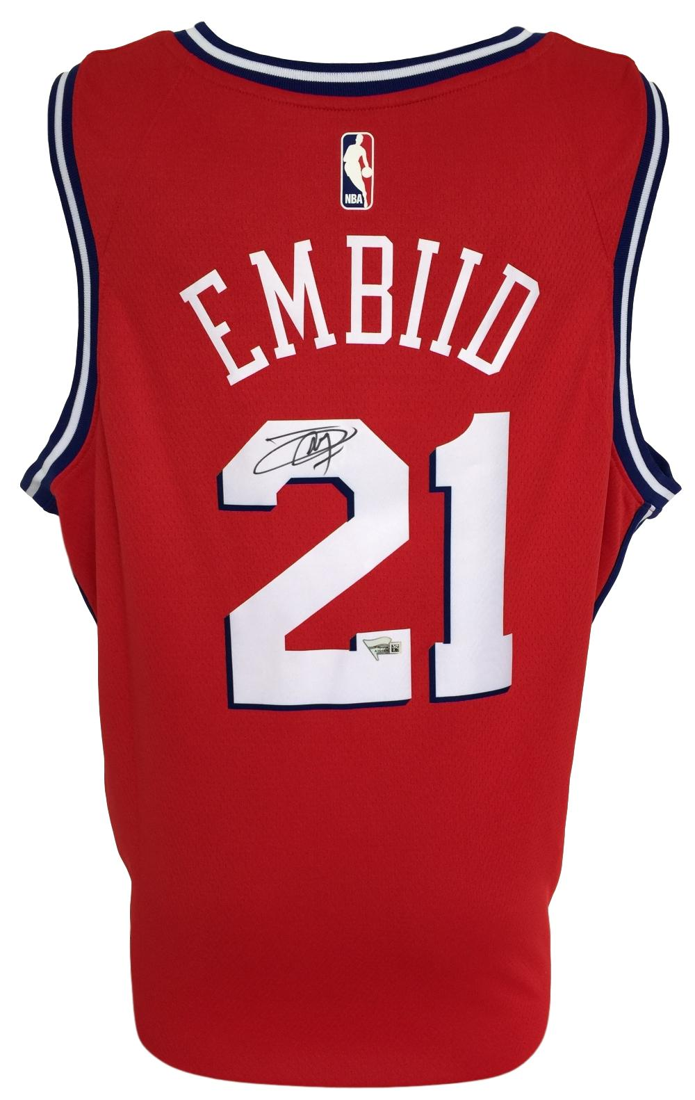 sports shoes b4426 3b9fb Details about Joel Embiid Signed 76ers Red Nike Swingman Jersey Fanatics  A364834