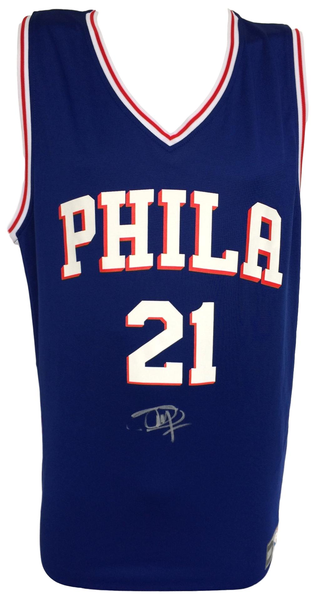 huge selection of 279a5 3d635 Details about Joel Embiid Signed Twice Philadelphia 76ers Blue Nike Replica  Jersey Fanatics