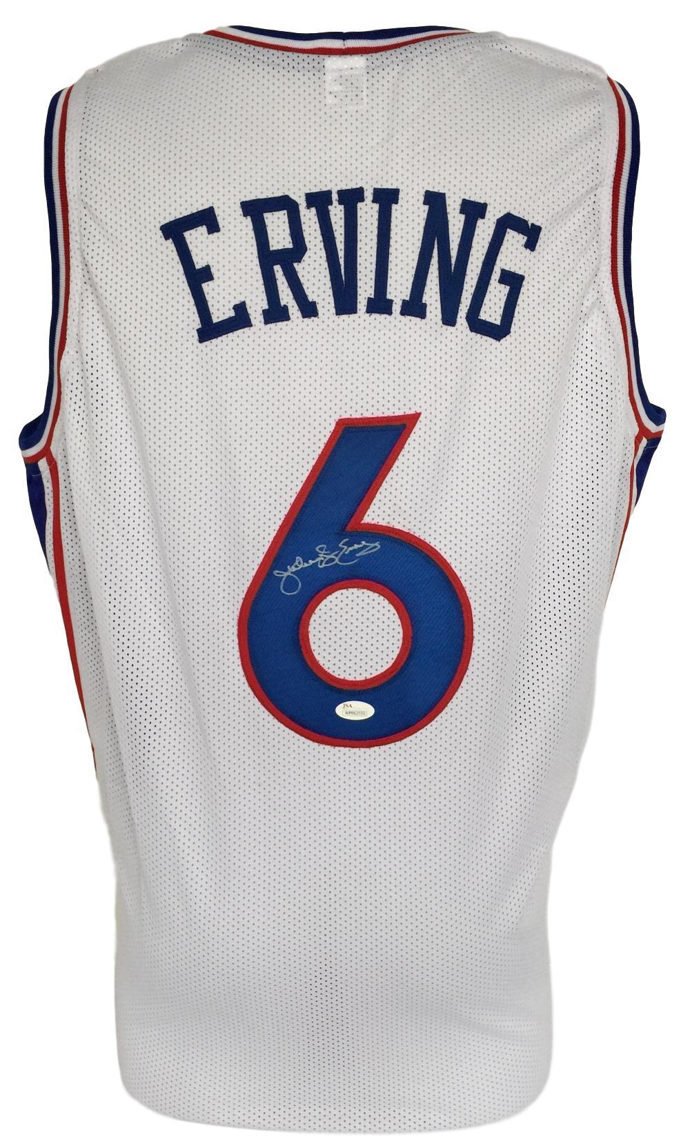 timeless design 57fcf 96fe3 Details about Julius Dr J Erving Signed Custom White Pro-Style Basketball  Jersey JSA ITP