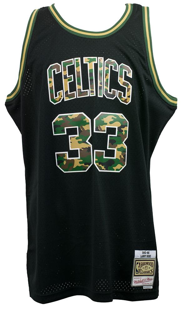 f41bc4db998 Larry Bird Signed Celtics Mitchell   Ness Black Straight Fire Camo Jersey  BAS