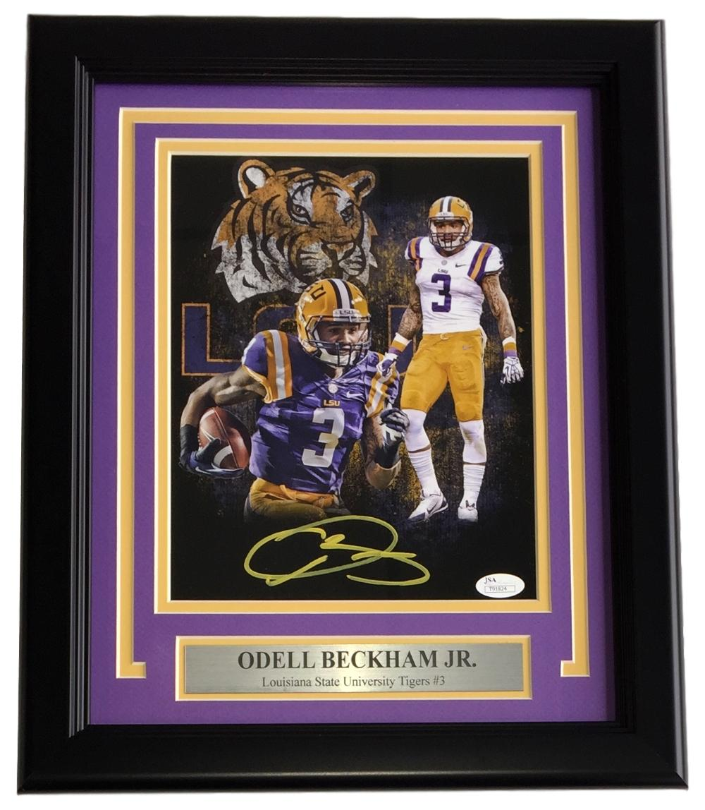 Odell Beckham Jr. Signed Framed 8x10 LSU Tigers Collage Photo JSA