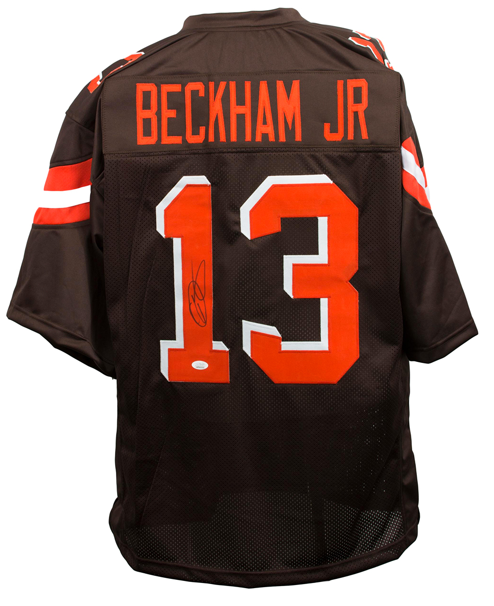 the latest 62a5d 195b7 Details about Odell Beckham Jr Signed Brown Custom Pro-Style Football  Jersey JSA