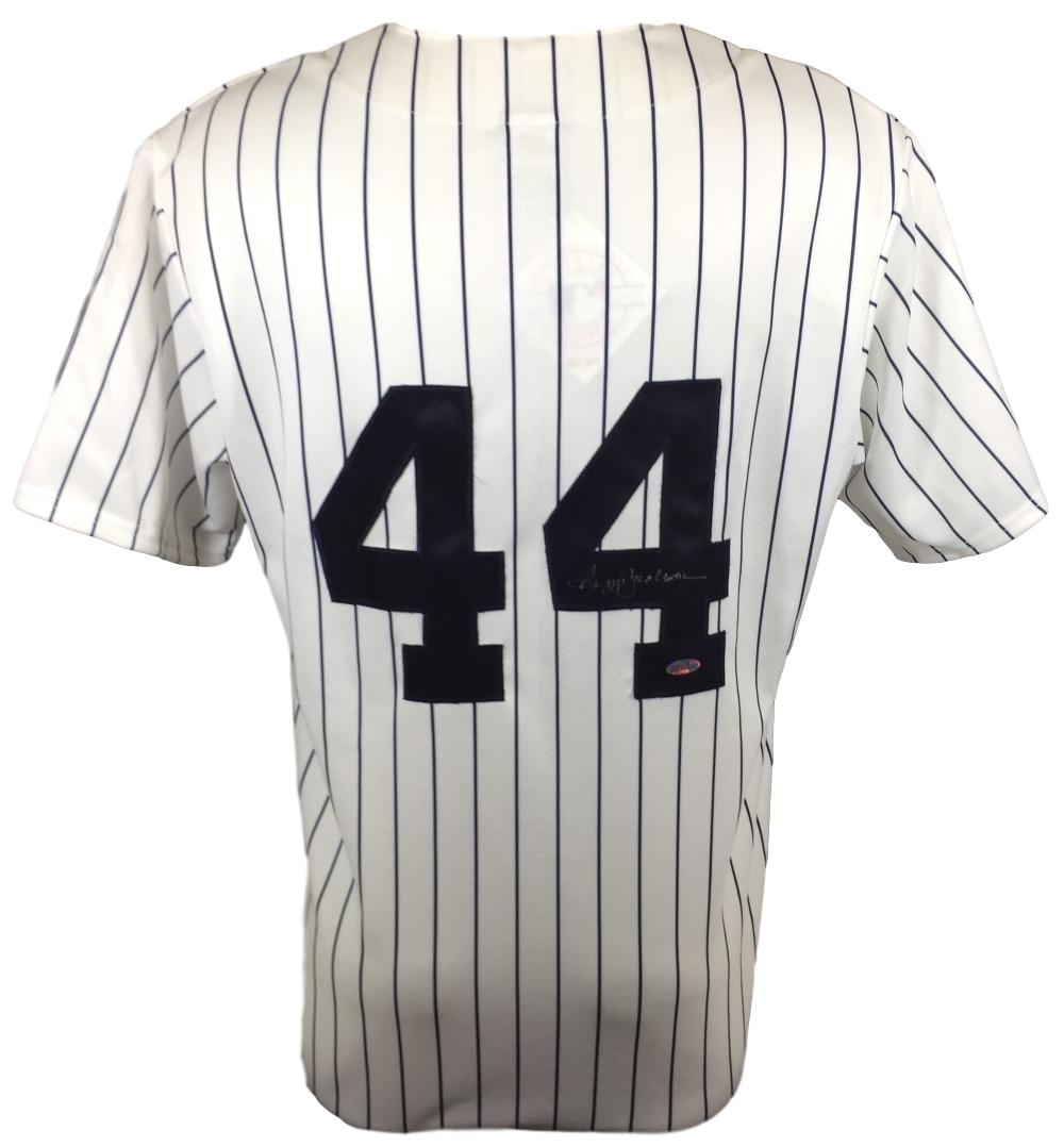 Details about Reggie Jackson Signed New York Yankees Majestic Replica  Pinstripe Jersey Steiner e9669aab9d0