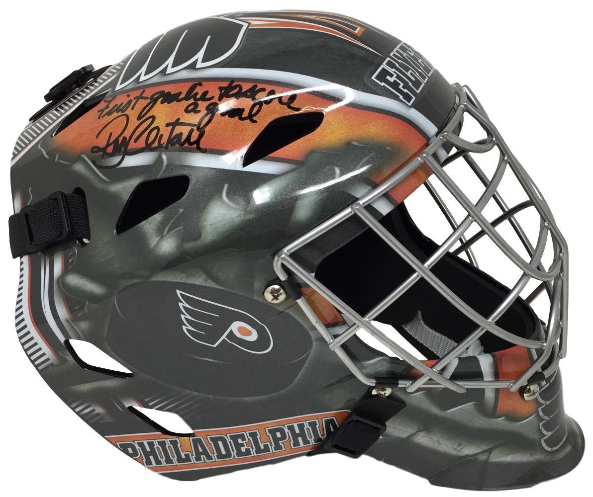 db8c4d032 Ron Hextall Signed Flyers Full Size Goalie Mask 1st Goalie To Score A Goal  JSA