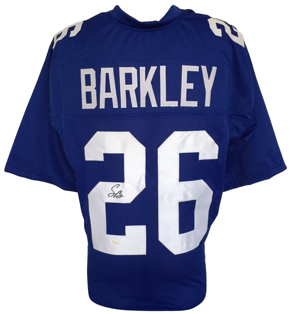 sports shoes 55cd0 9d6da Details about Saquon Barkley Signed Custom Blue Pro-Style Football Jersey  JSA Signature Debut
