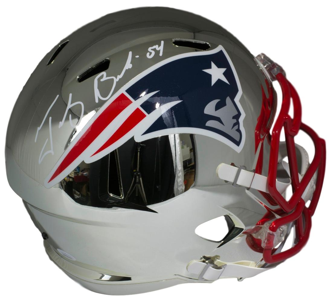 Tedy Bruschi Signed FS New England Patriots Chrome Replica Speed Helmet JSA f25398b82