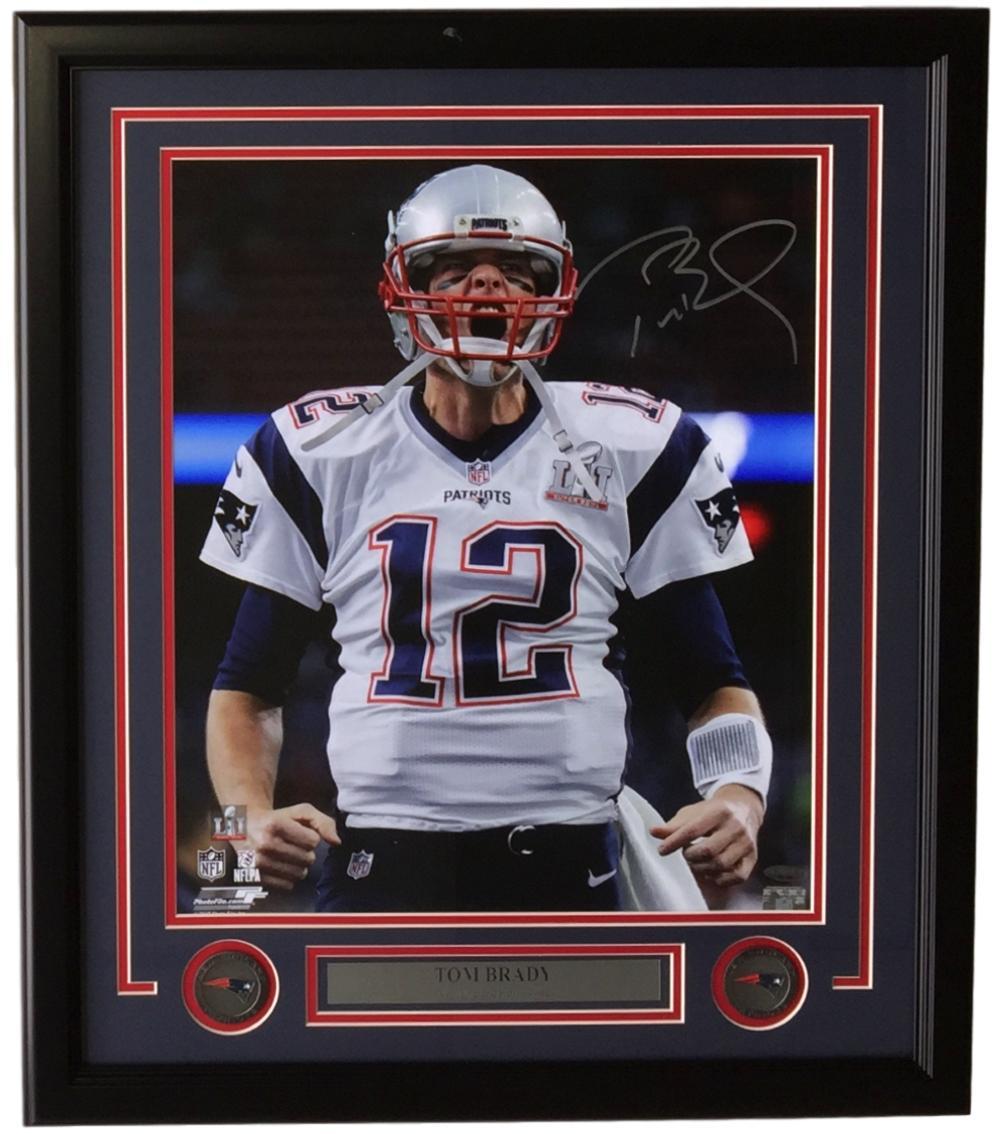 Tom Brady Signed Framed 16x20 NE Patriots Super Bowl LI Scream Photo ...