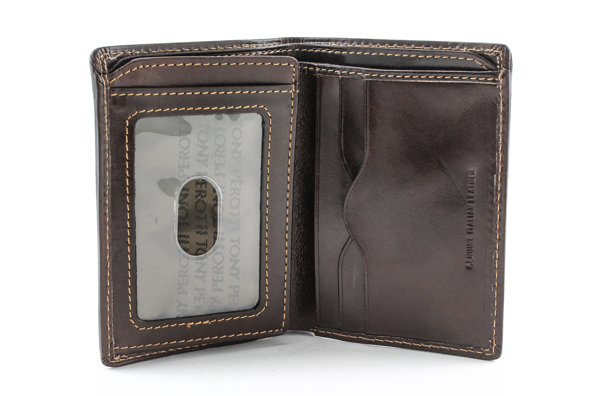 Tony Perotti Italian Leather Vertical Bifold Wallet With
