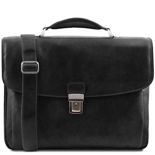 Multi Maletín Negro Portátil Compartimiento Alessandria Tuscany Leather IxU41En