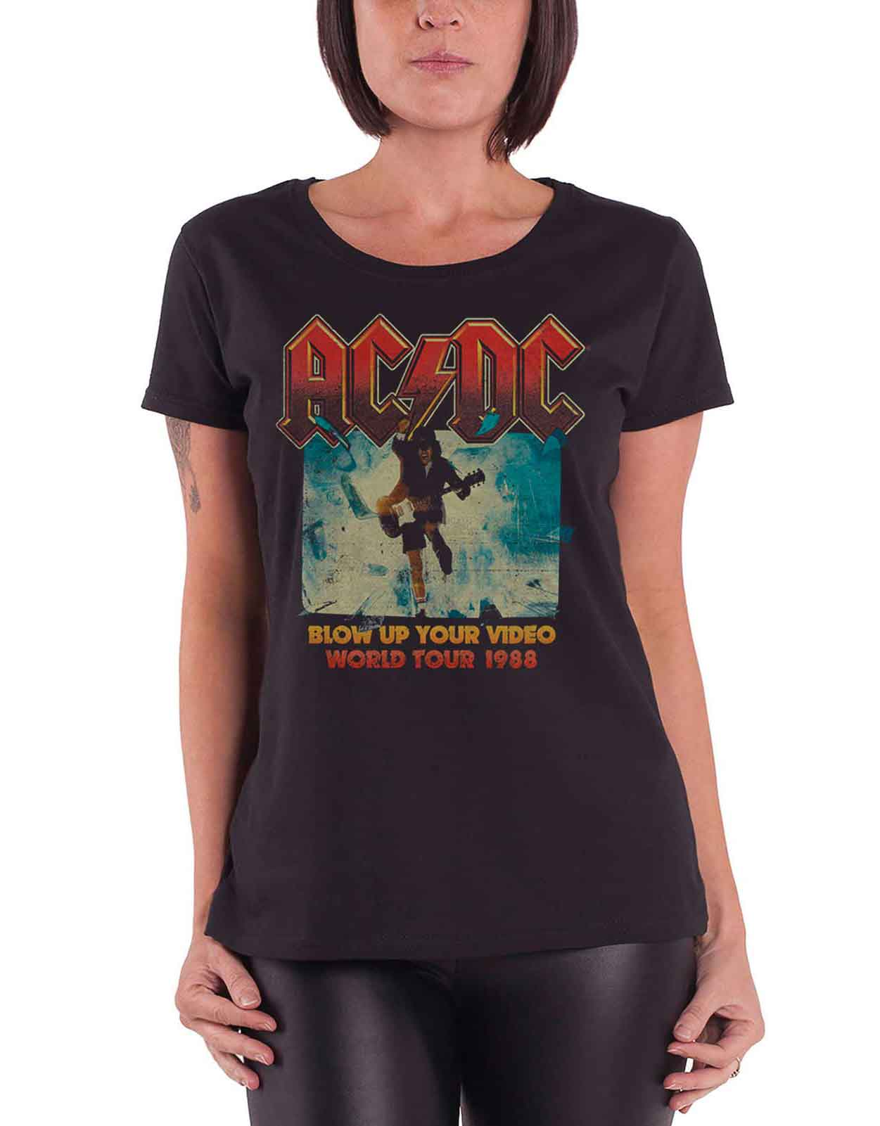 AC-DC-T-Shirt-Womens-Rock-Or-Bust-Band-Logo-About-to-Rock-Official-Skinny-Fit thumbnail 7