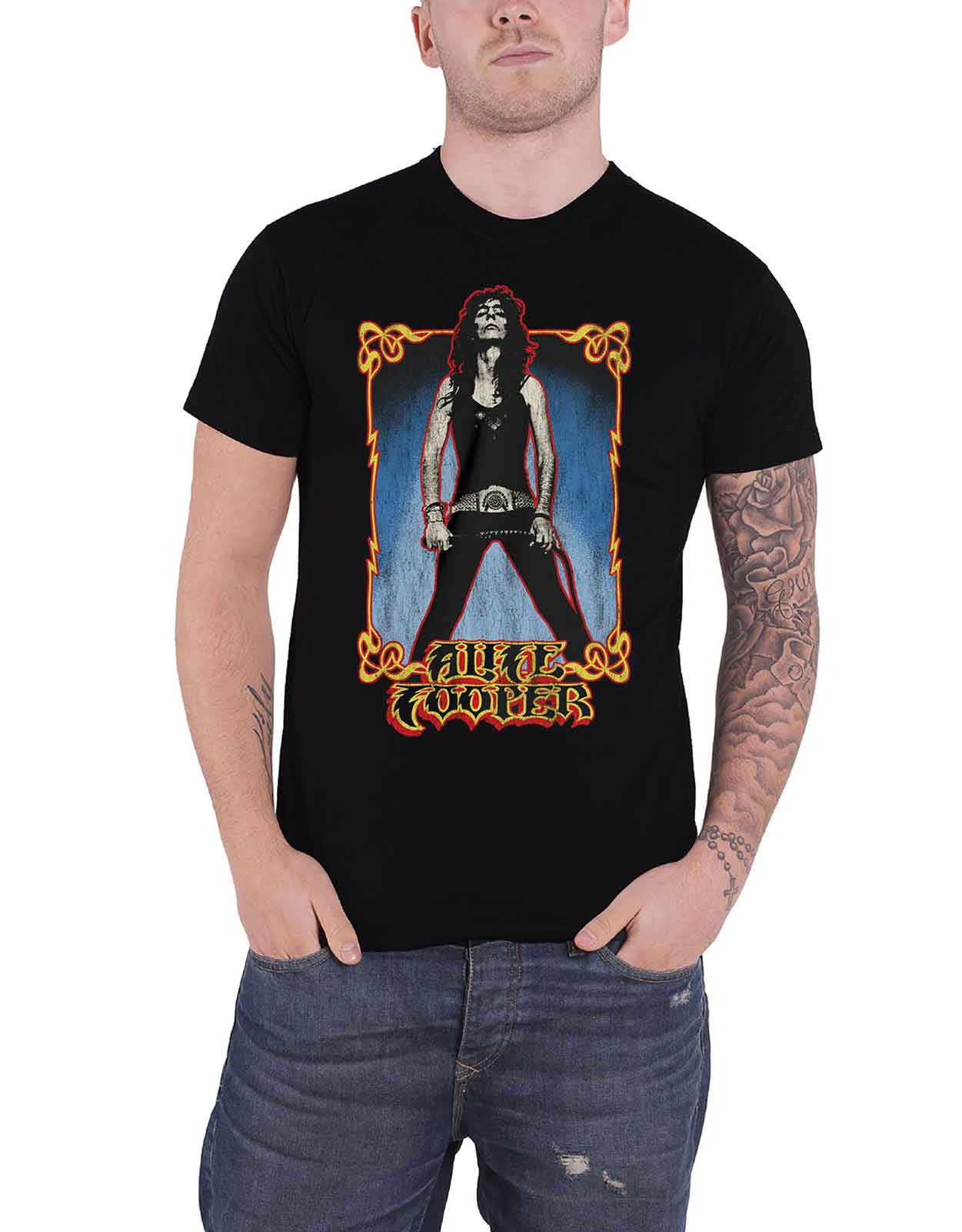 Alice Cooper Mens T-Shirt Vintage Whip Washed