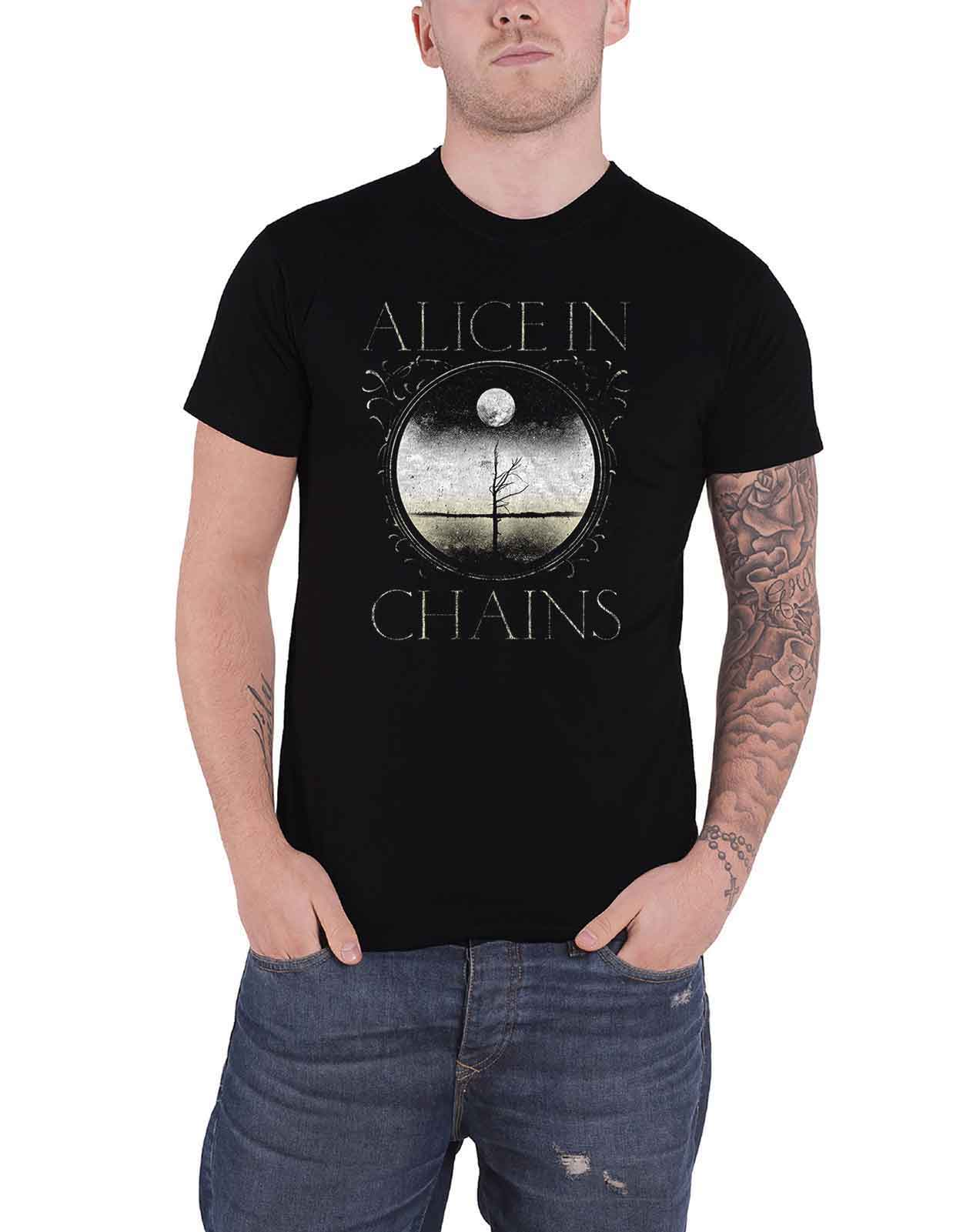Alice in Chains T shirt Moon Tree Band Logo new official mens black