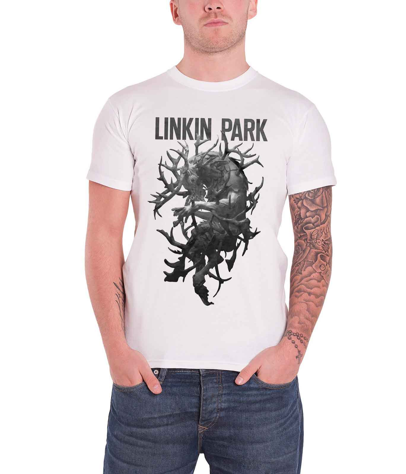 d87c1918 Linkin Park Hunting Party Antlers Official Mens White T Shirt Medium. About  this product. Picture 1 of 3; Picture 2 of 3 ...