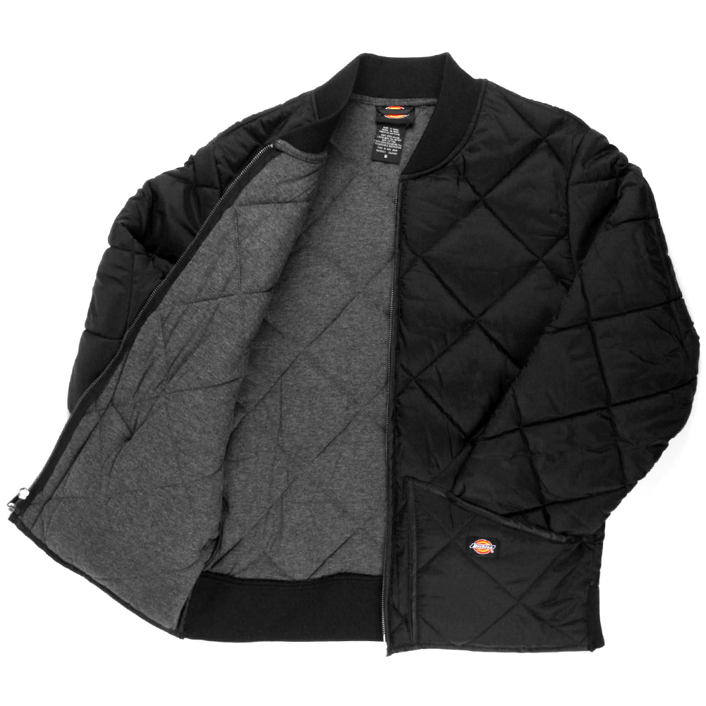 Dickies-Diamond-Quilted-Nylon-Jacket-Men-039-s-Zip-Up-Fleece-Lined-Style-61242 thumbnail 4