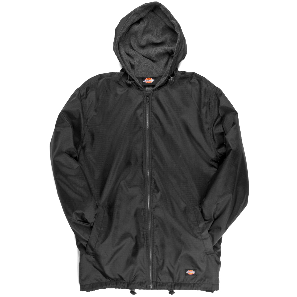 Dickies Fleece Lined Nylon Hooded Windbreaker Men's Zip Up Jacket ...