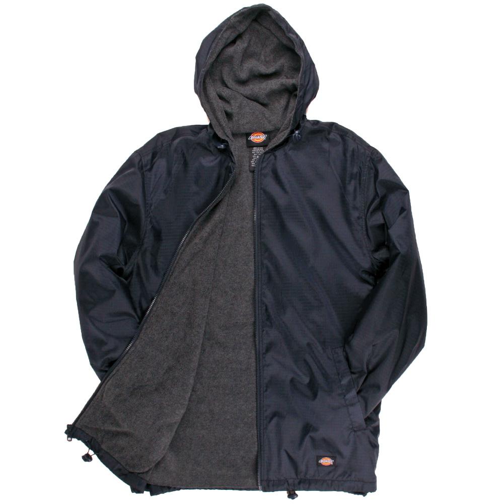 fe8b1de70e2a Dickies Fleece Lined Nylon Hooded Windbreaker Men s Zip Up Jacket ...