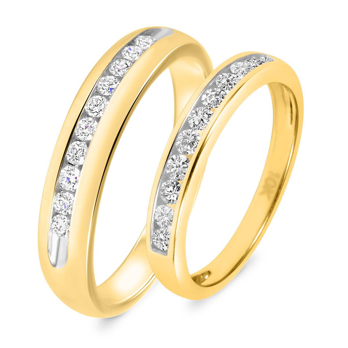 7897b28e841 ... Gold 5 8 Carat T.W. Round Cut Diamond His And Hers Wedding Band Set 14K  Yellow 1 8 ...