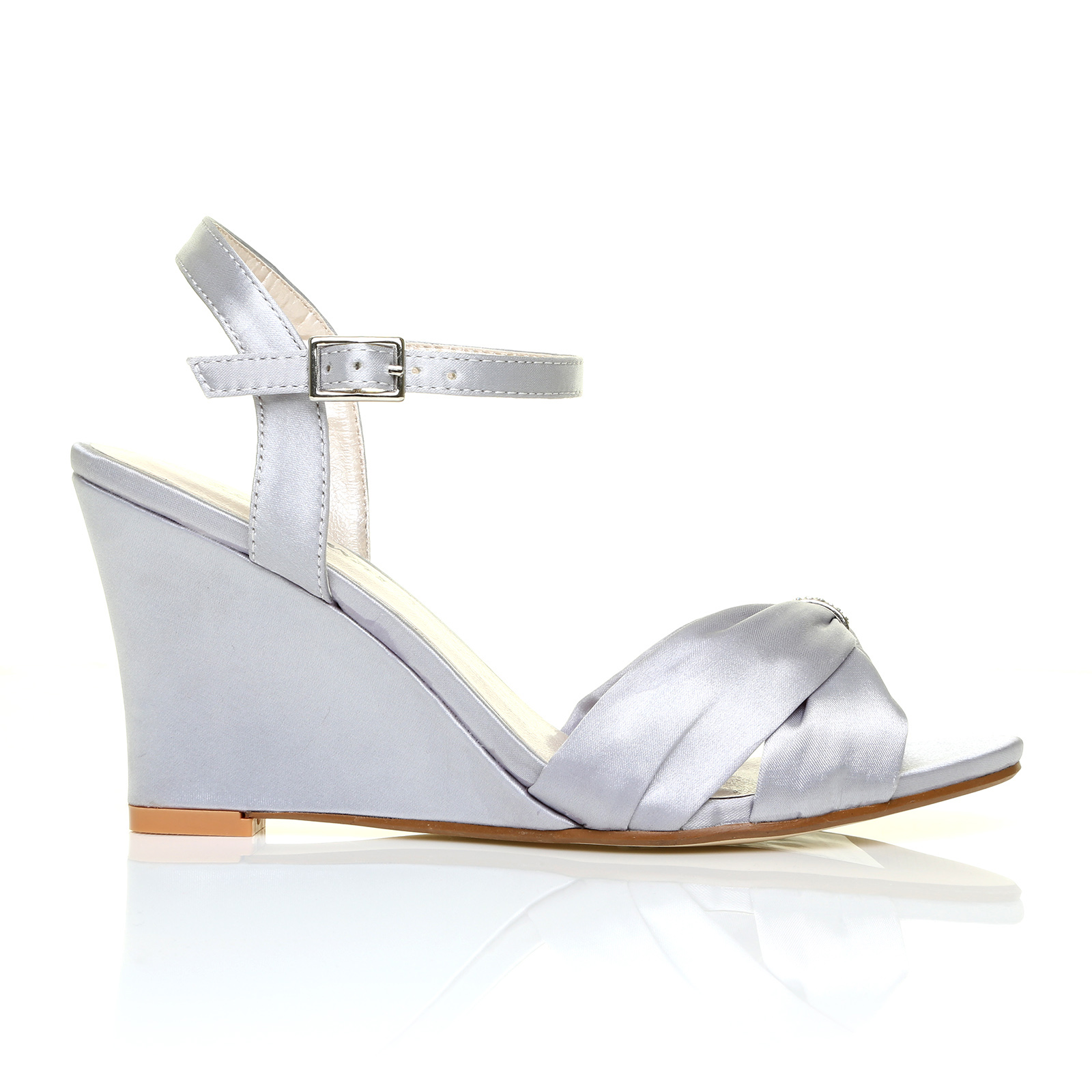ANGEL Silver Satin Wedge High Heel Strappy Bridal Shoes