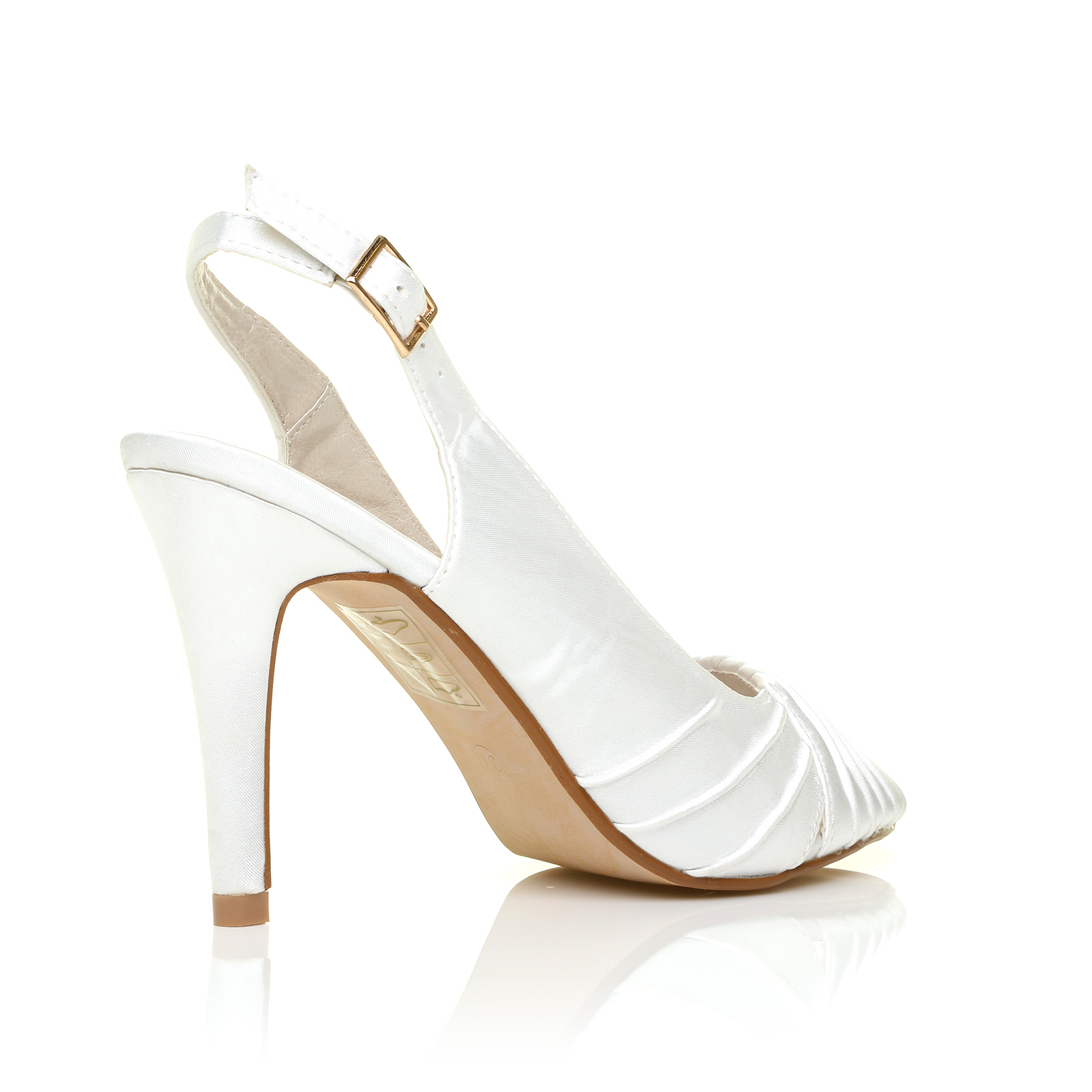 c6e33ac665c Chloe White Satin Stiletto High Heel Slingback Bridal PEEP Toe Shoes ...