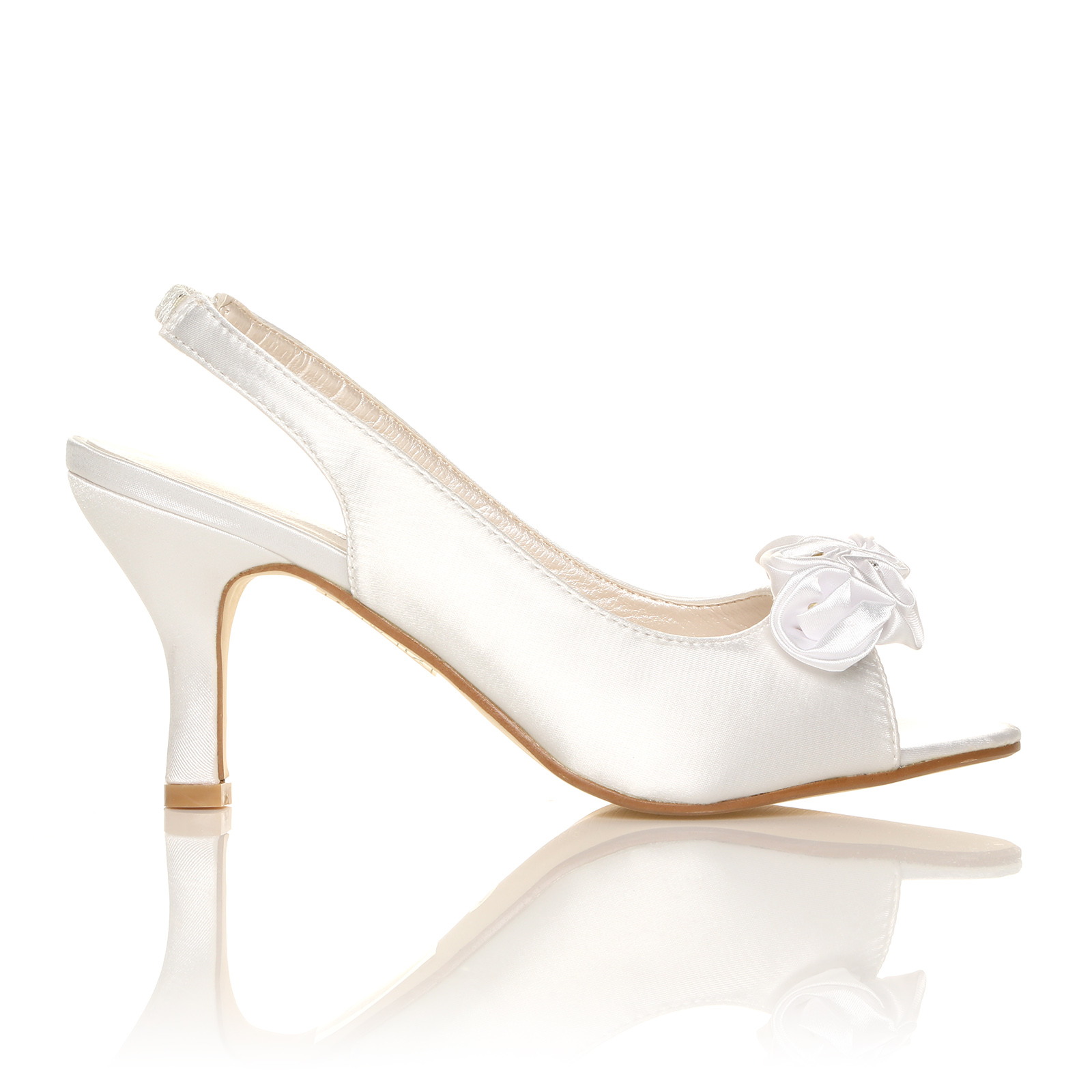 NEW WOMENS IVORY WHITE SATIN WEDDING BRIDAL STRAP SHOES