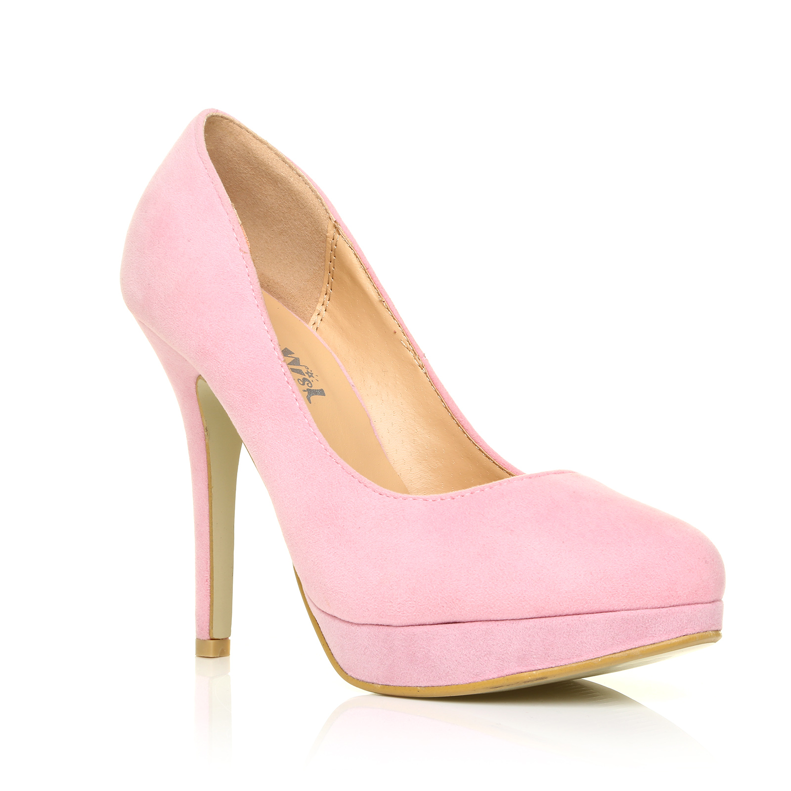 5c23320ce3f Eve Baby Pink Faux Suede Stiletto High Heel Platform Court Shoes UK ...