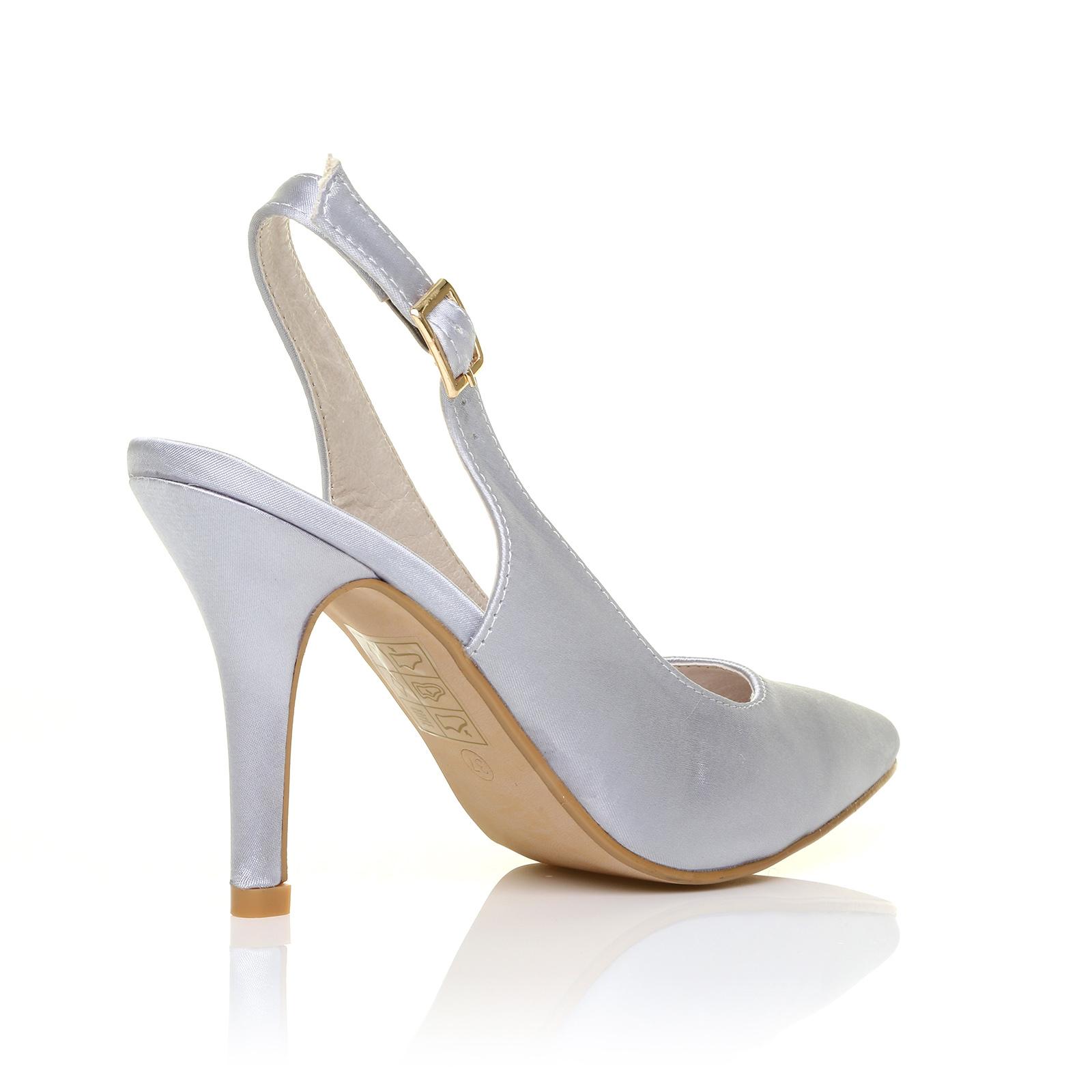 07e21083ade Faith Silver Satin Stiletto High Heel Slingback Bridal Court Shoes ...