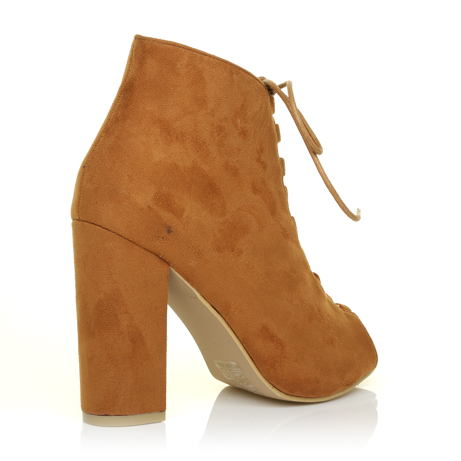 Tan Lace Up Open Toe Ladies Shoes And Boots