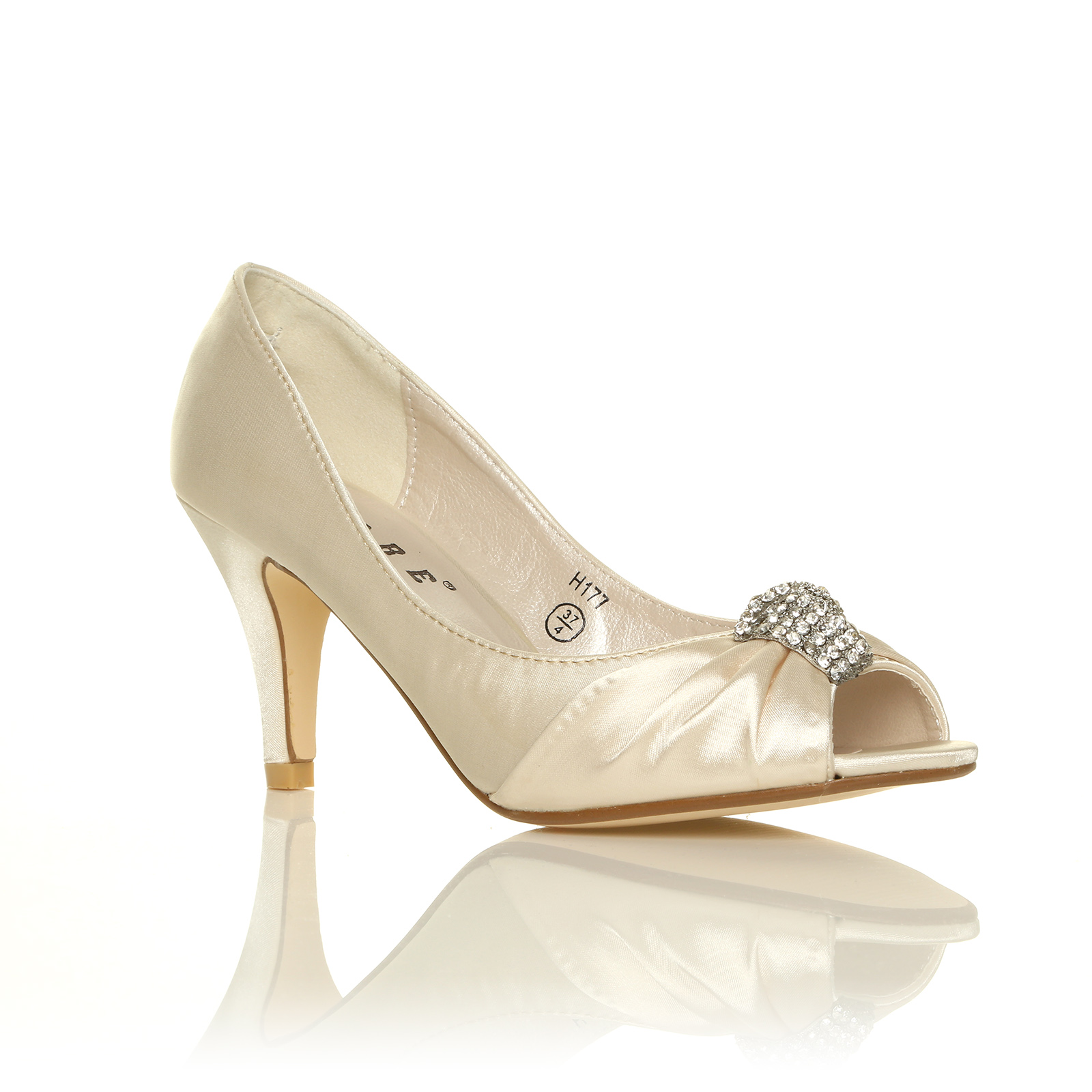 LADIES IVORY WHITE SATIN LOW HEEL BRIDAL PROM PARTY ...