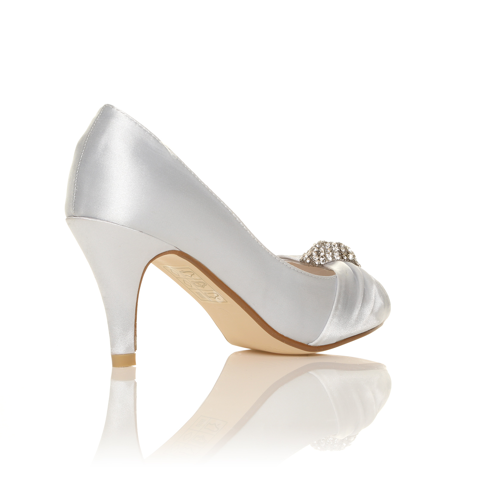 LADIES IVORY WHITE SATIN LOW HEEL BRIDAL PROM PARTY