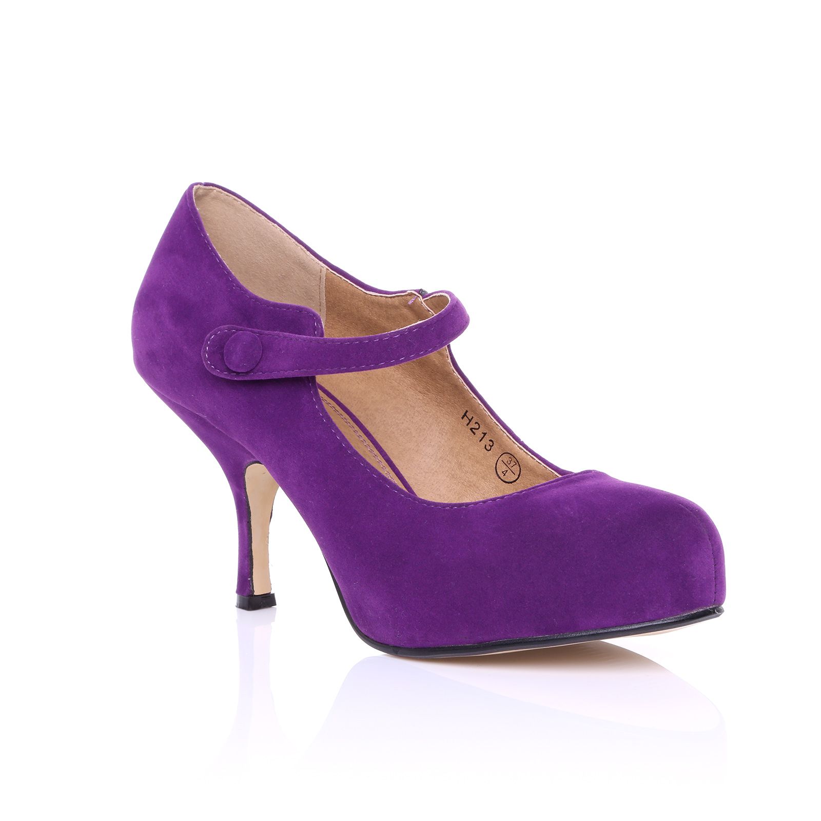 Purple Leather Womens Shoes Low Heel
