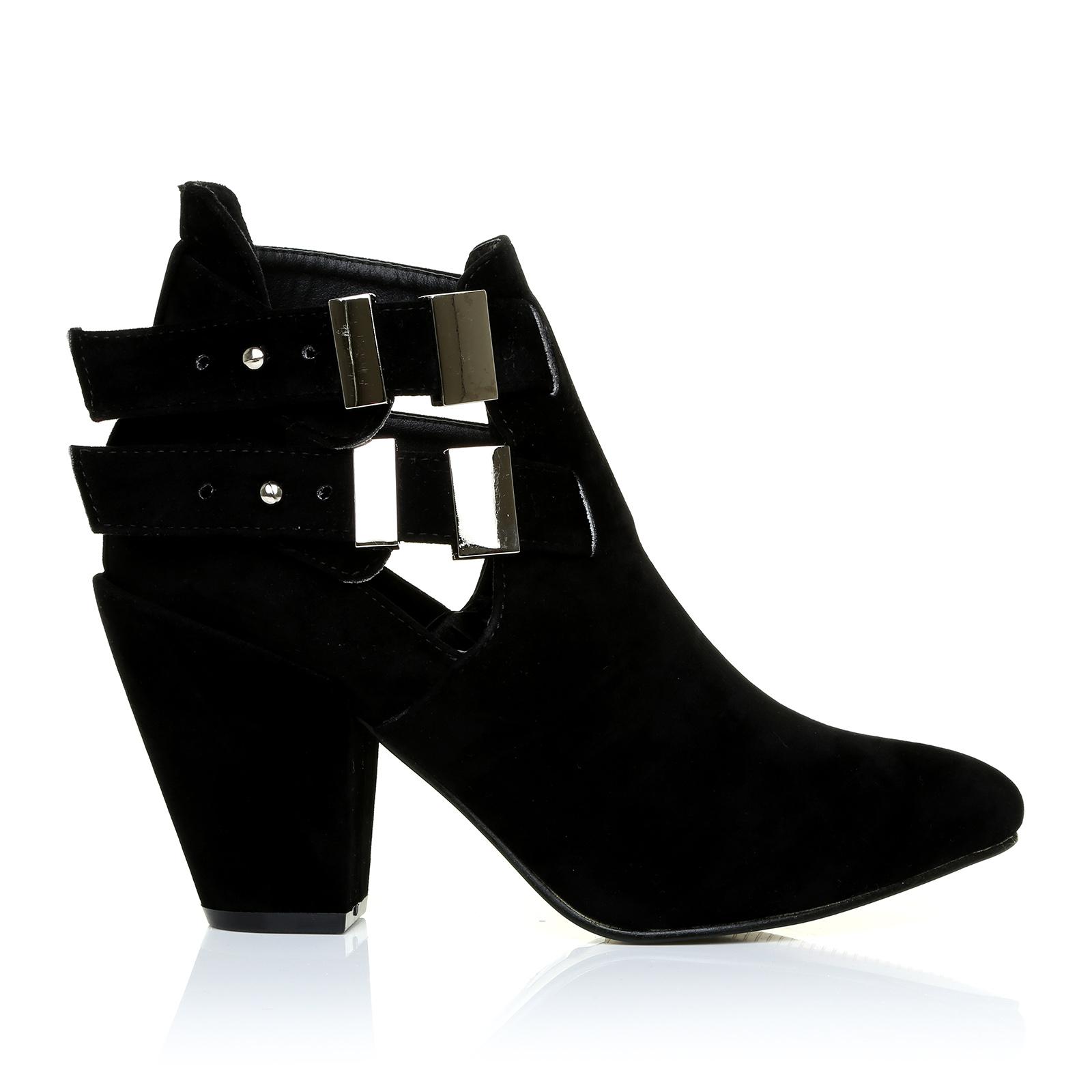 Wide Fit Kitten Heel Shoe Boots Black Suede