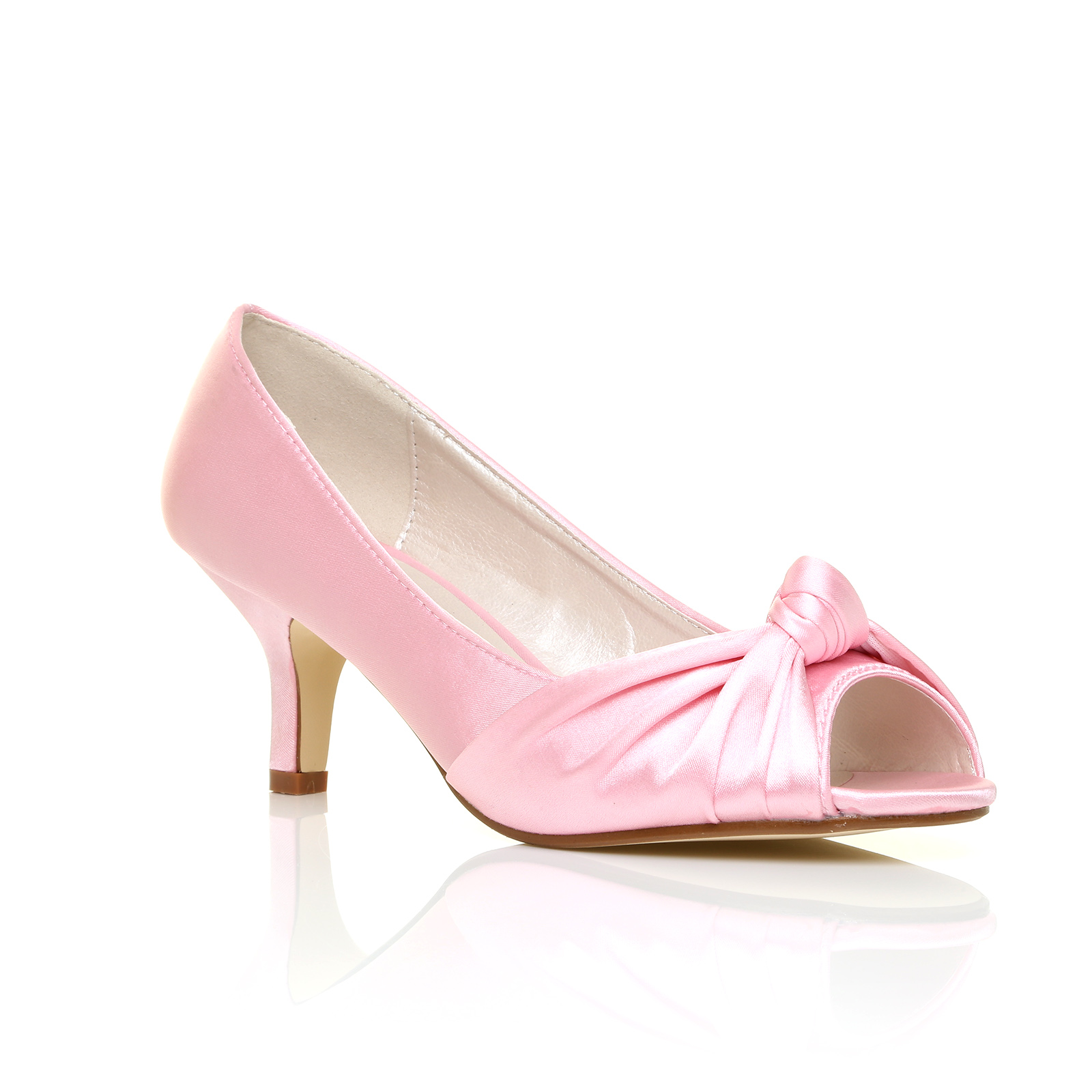 Pink Low Heel Wedding Shoes: WOMENS WEDDING BRIDAL LADIES PROM SHOES LOW HEEL