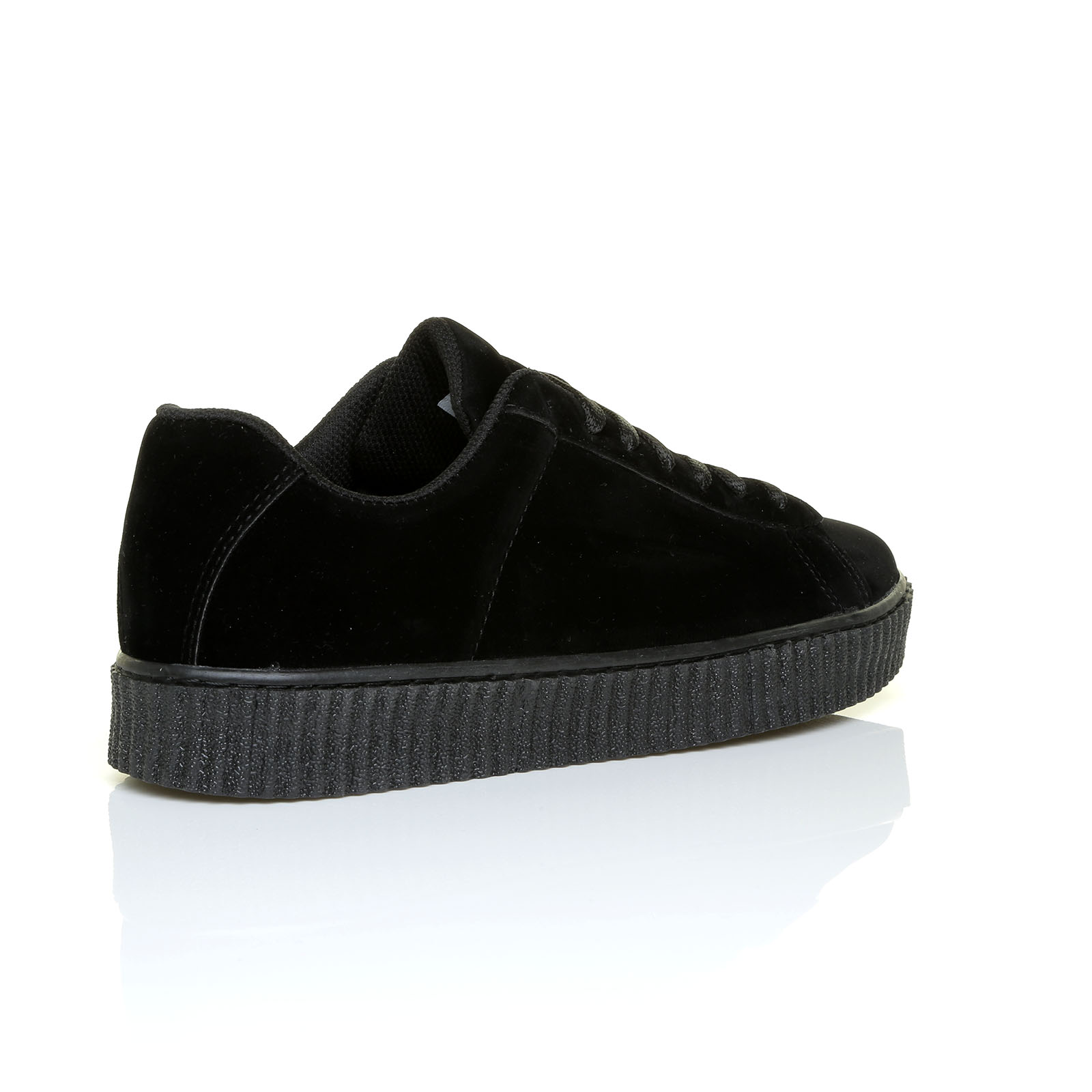 Ladies Black Leather Trainer Shoes