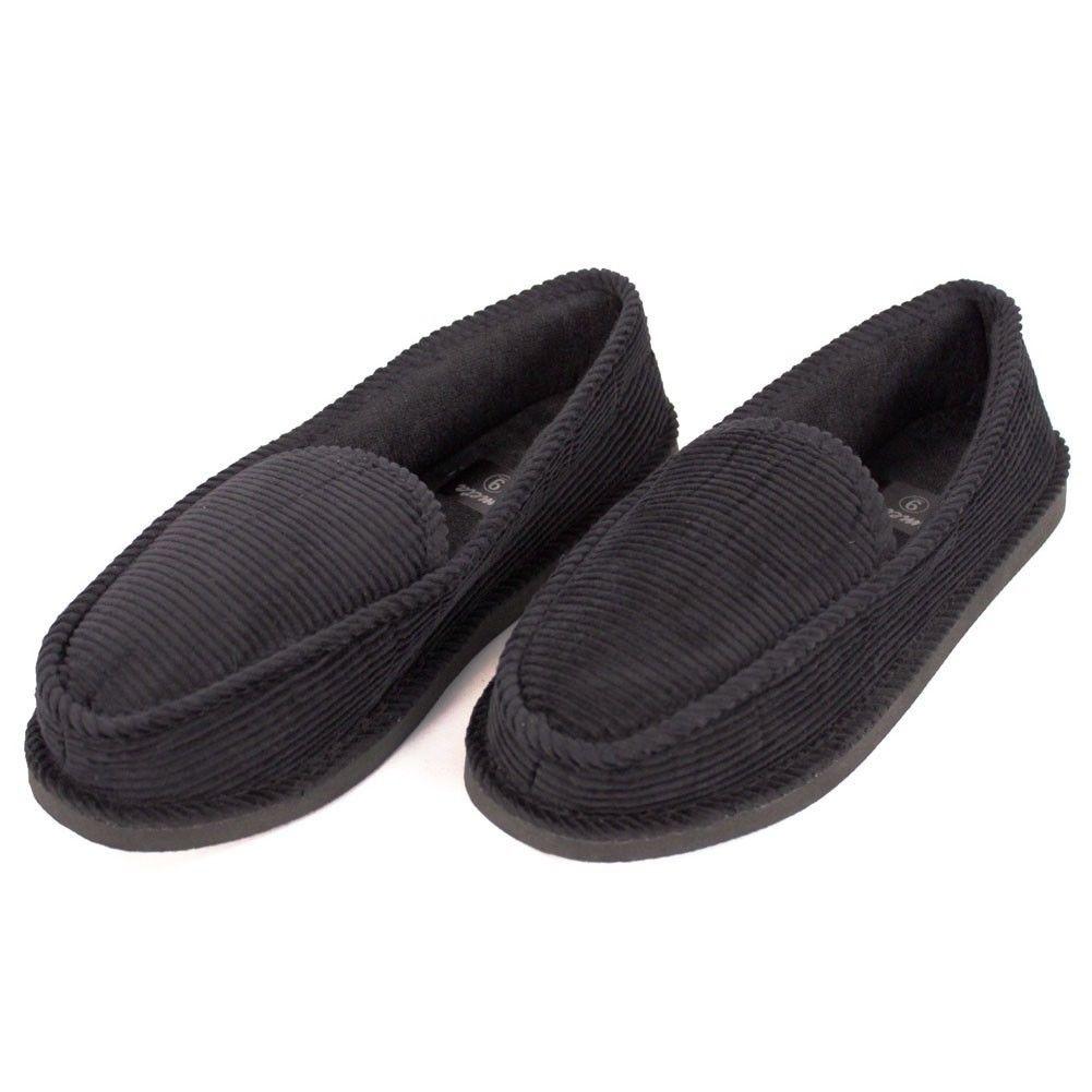 Black Slip On Shoes Curduroy