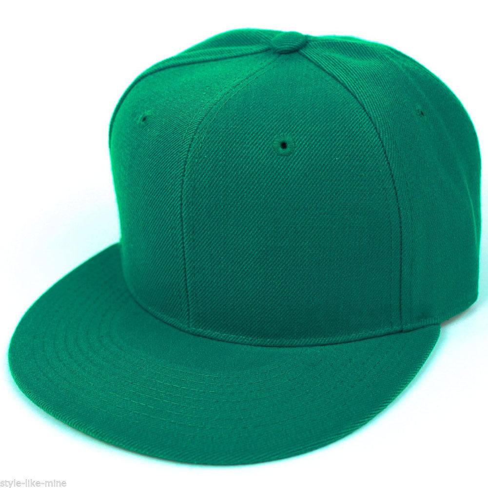 New Fitted Baseball Hat Cap Plain Basic Blank Color Flat ...