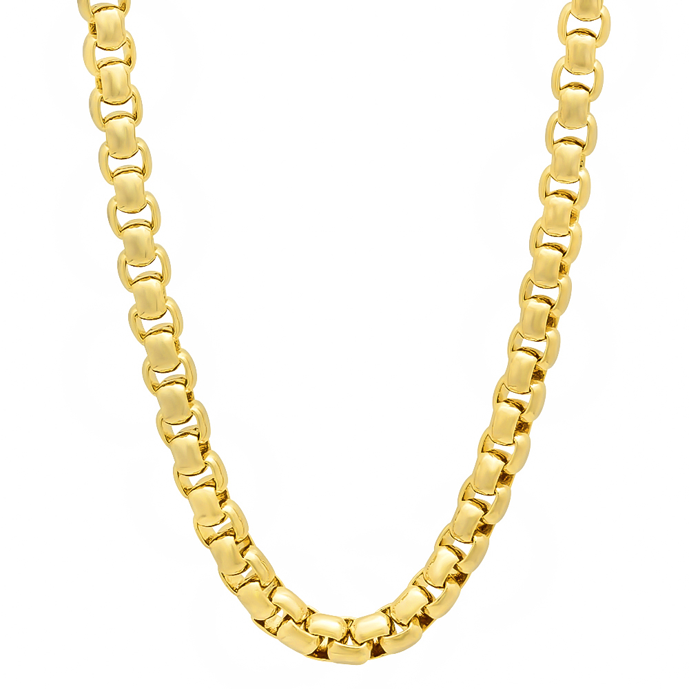 1f021ece00a36d 5mm 14k Gold Plated Rounded Box Chain Necklace + Microfiber Jewelry  Polishing Cloth