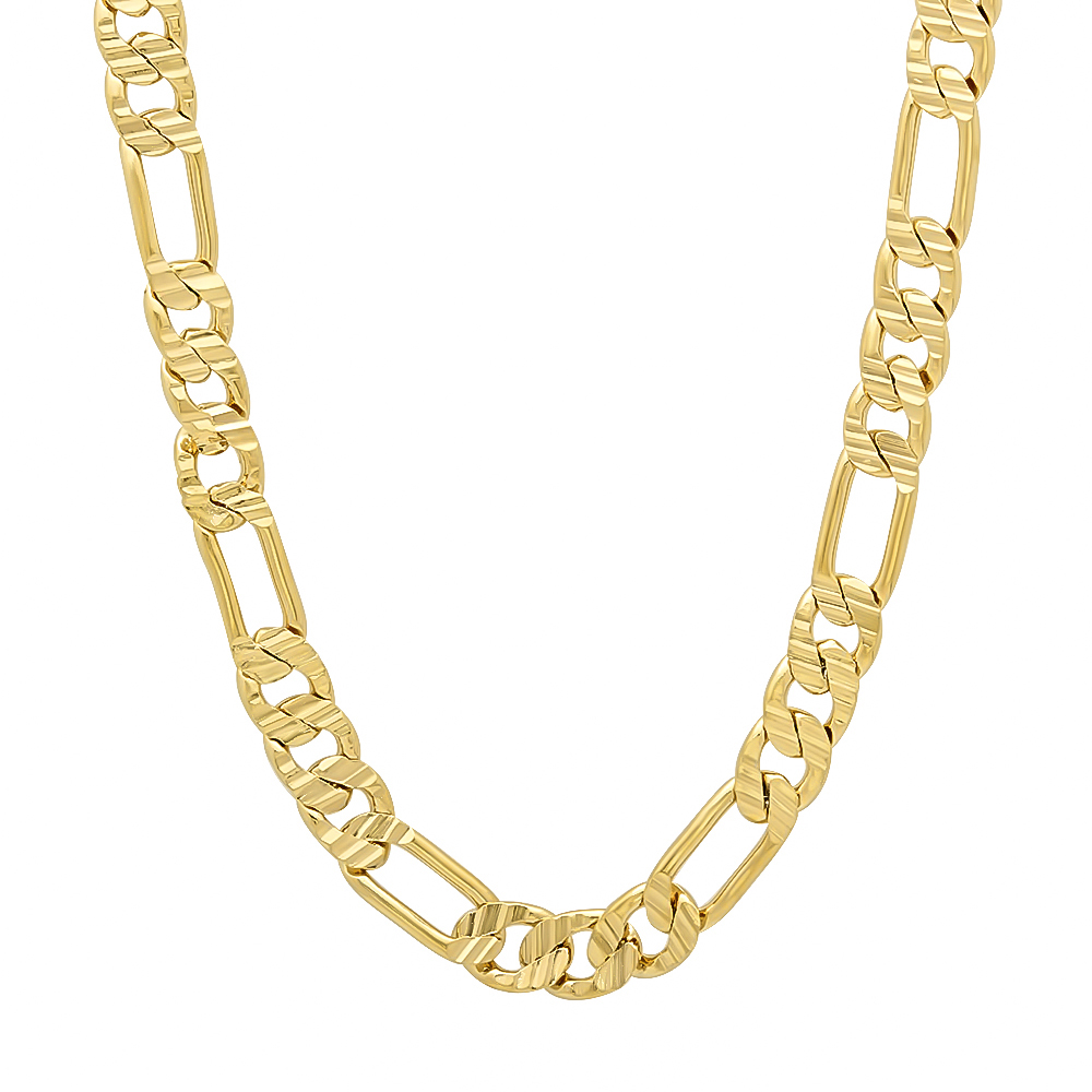 14k Yellow Gold High Polished 2mm Traditional Milgrain: 6mm 14k Gold Plated Grooved Figaro Link Chain