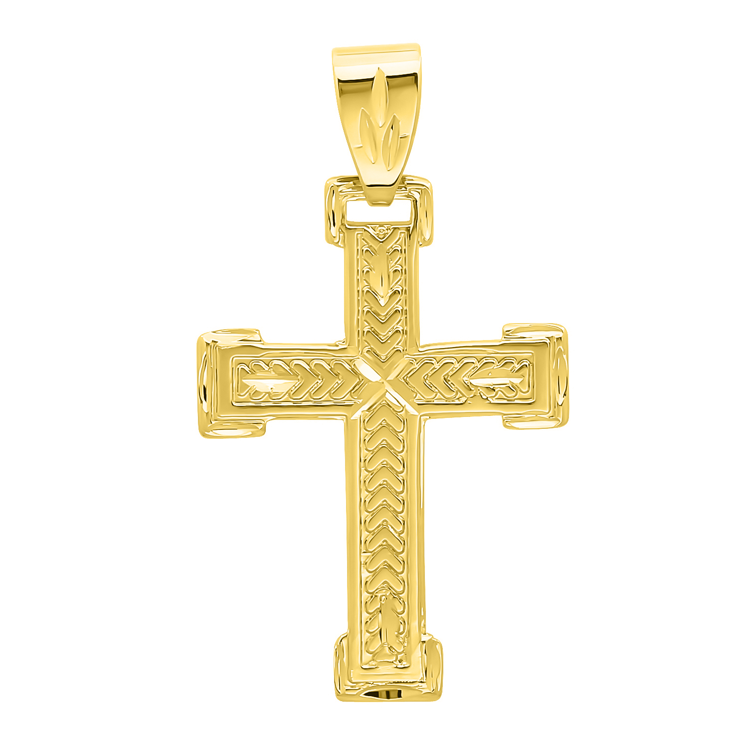 14k Gold Crucifix Necklace: Solid 14k Gold Filled Cross Crucifix Pendant Real Heavy