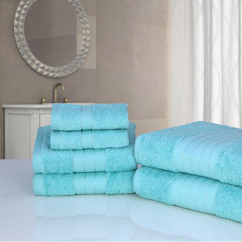 Bathroom Towels: Luxury Soft Face Hand Bath 6 Piece Bathroom Towel Bale Set