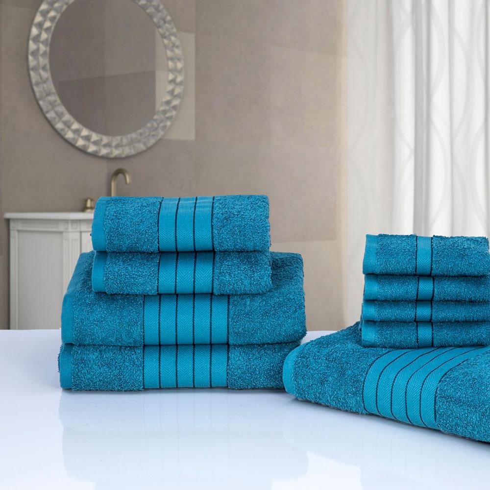 Schön Luxus 100 % ägyptischer Baumwolle 9 Stück Badezimmer Handtuch Bale Gesicht  Bad Hand Geschenk Set