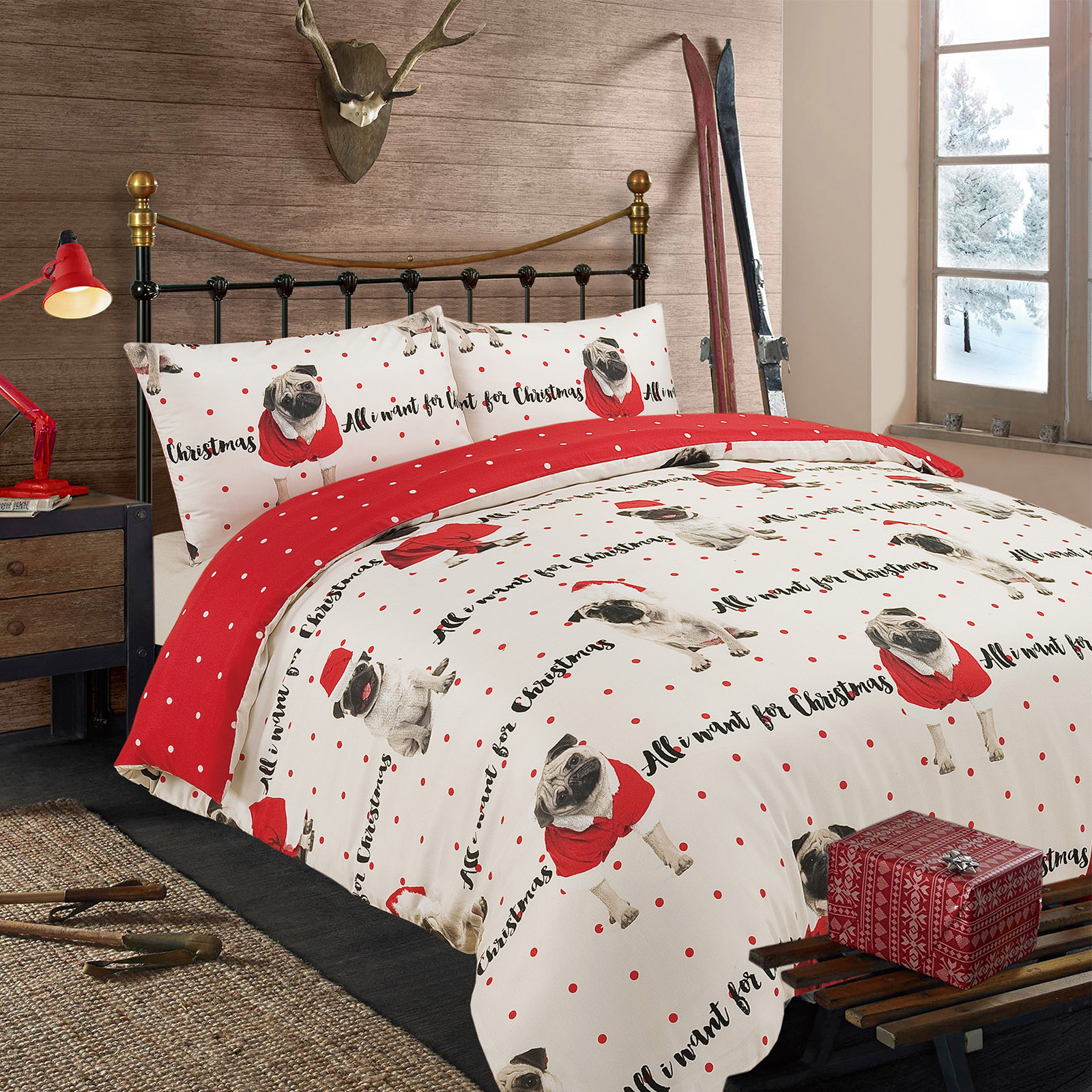 Dreamscene Pug Duvet Cover With Pillow Case Bedding