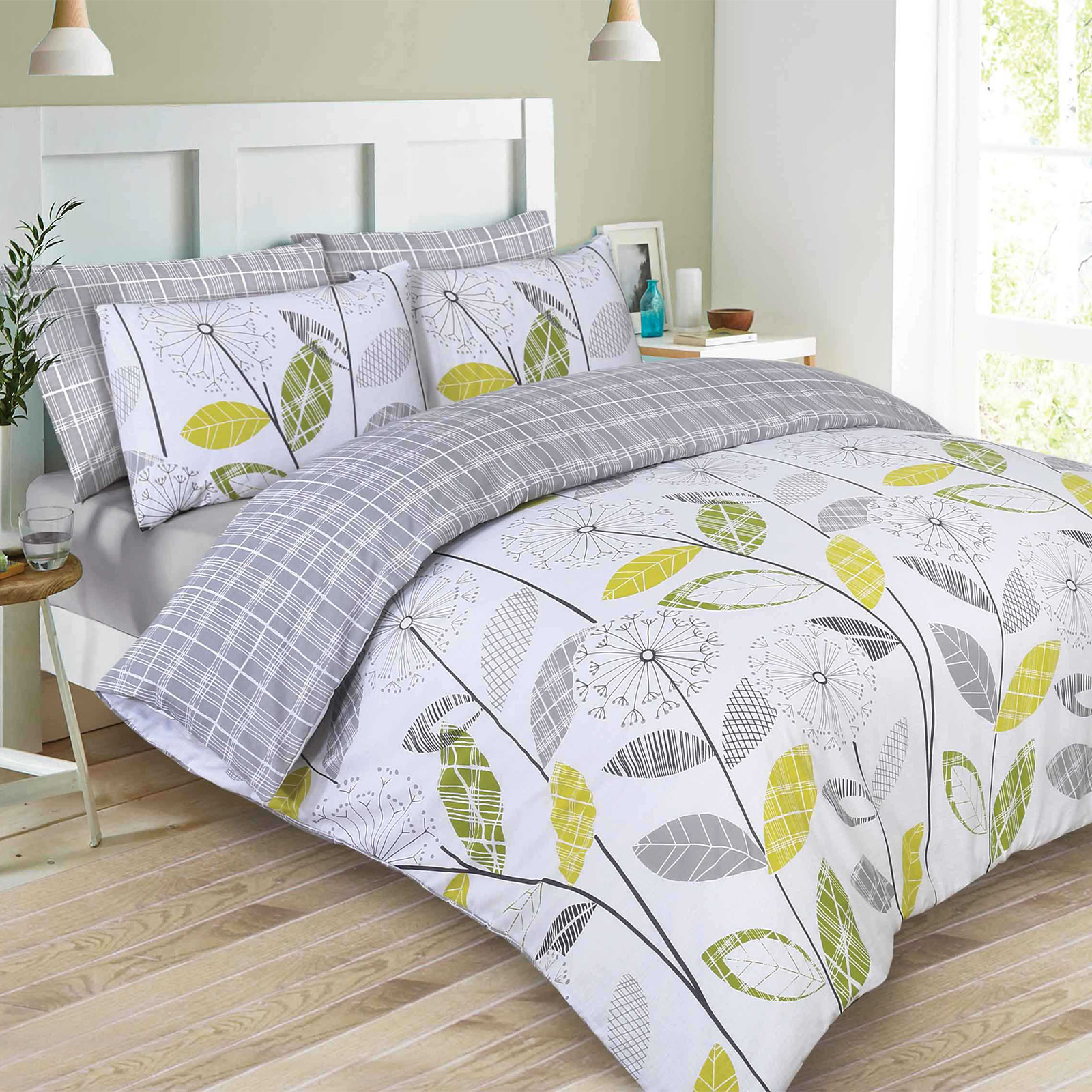 Dreamscene-Allium-Duvet-Cover-with-Pillowcase-Reversible-Check-Bedding-Set-Grey