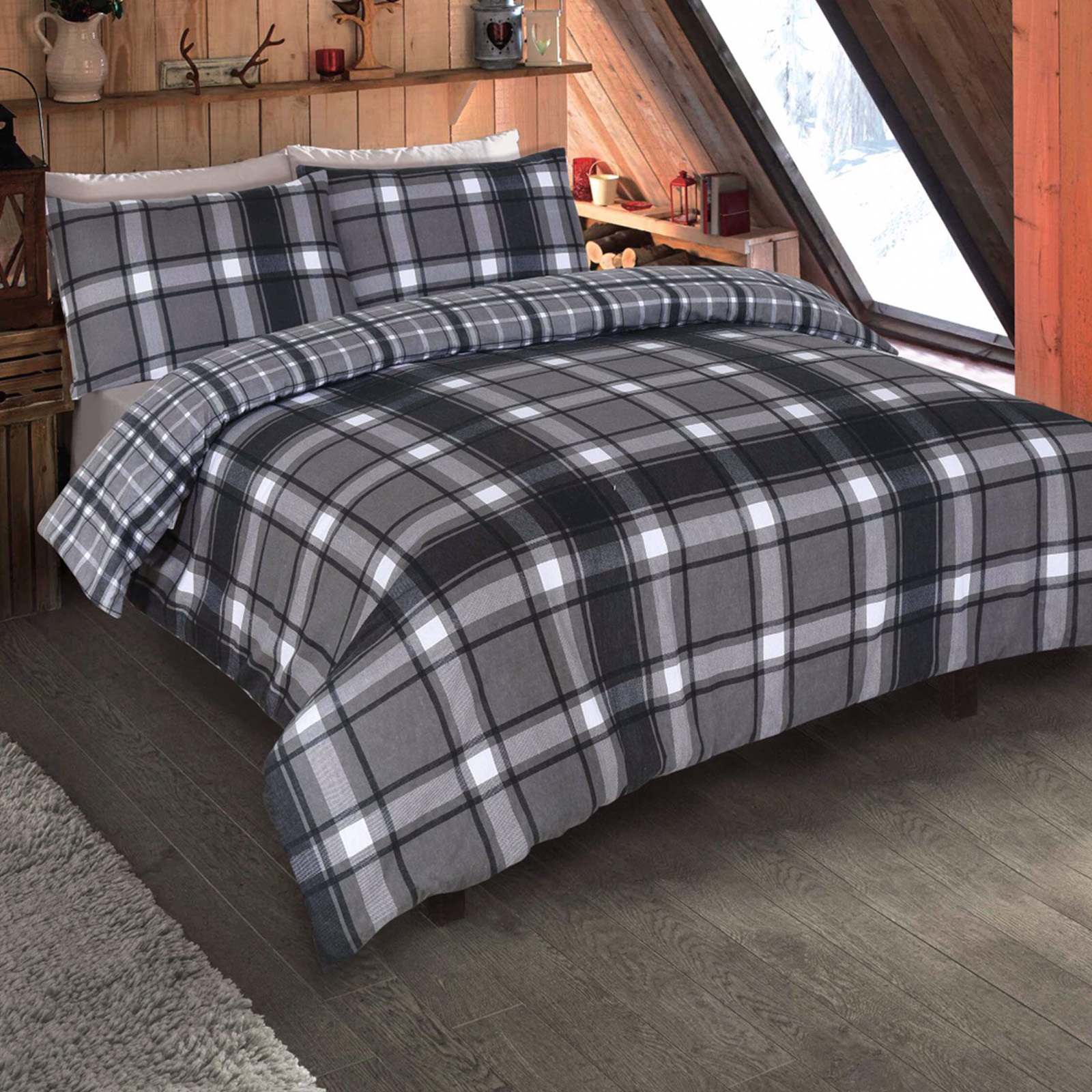 Brushed Cotton Tartan Duvet Cover With Pillowcase Set